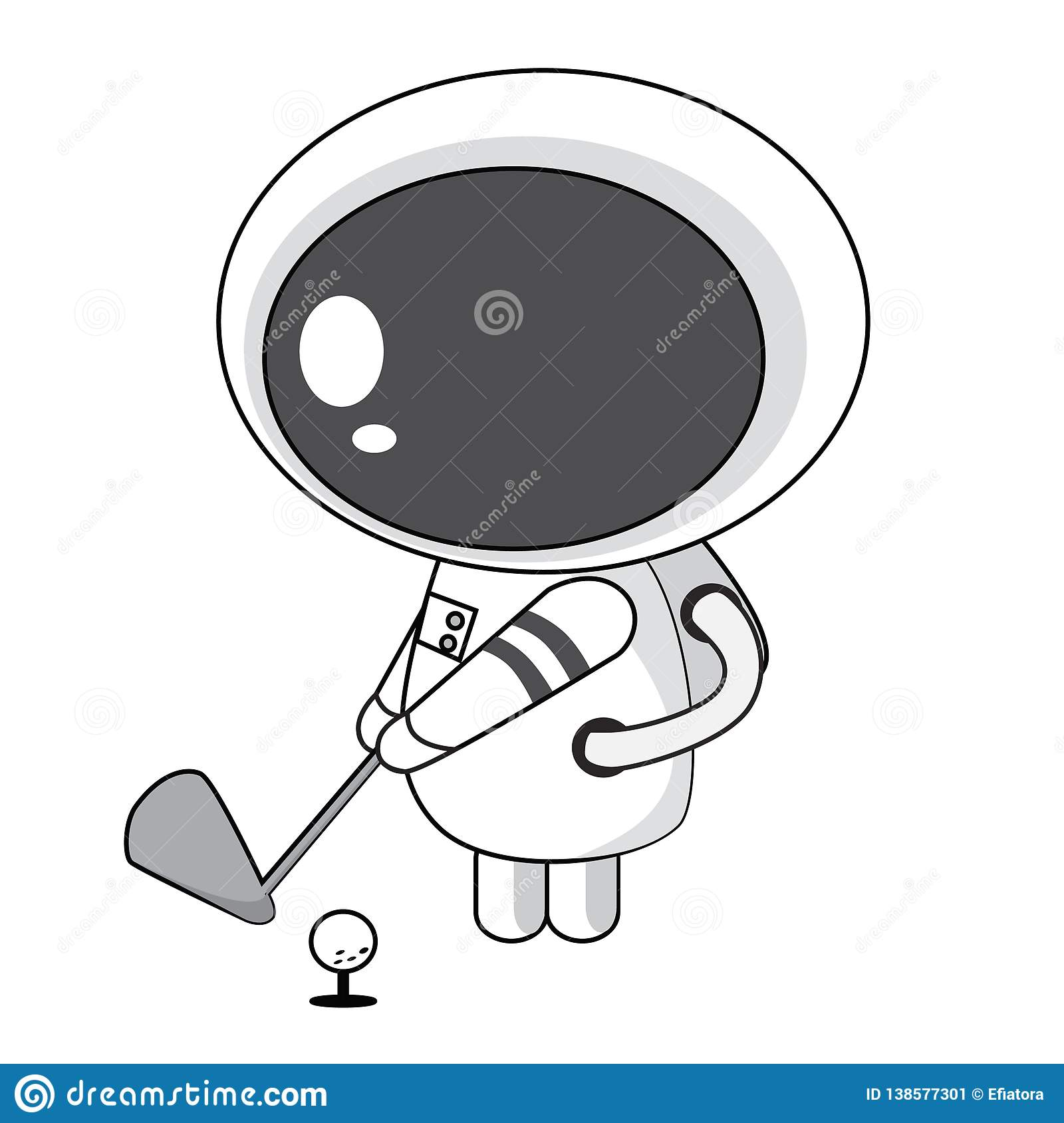 Astronaute Playing Golf