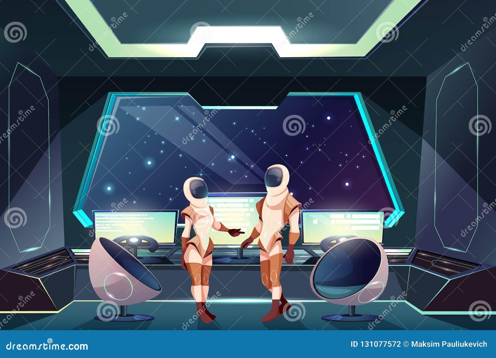 Astronauten in den Spacesuits auf Raumschiffvektor