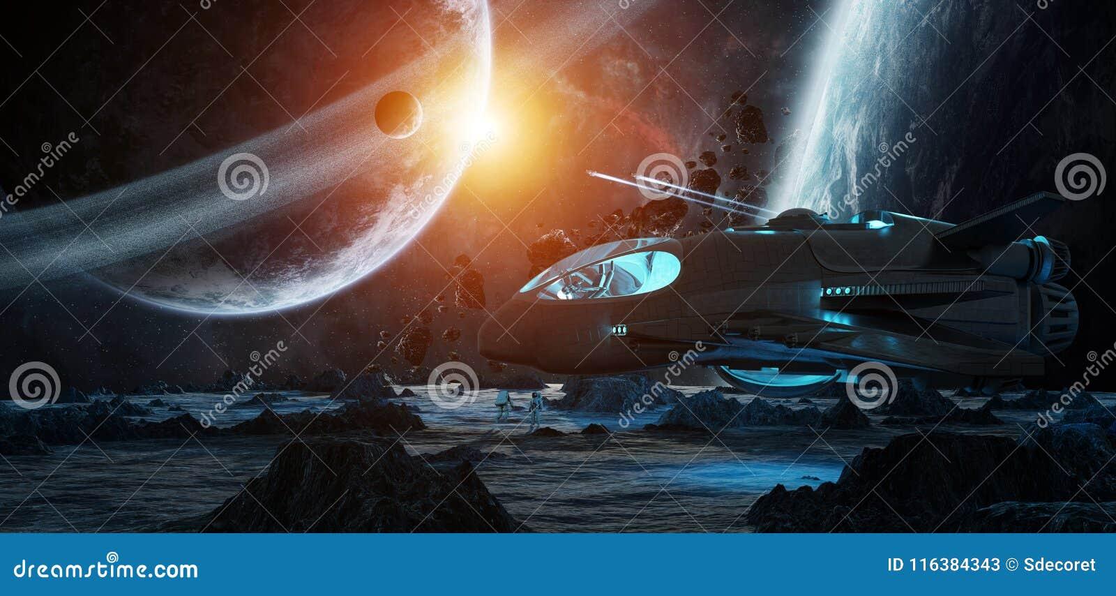 Astronauten, die Elemente einer sternartige Wiedergabe 3D von diesem i erforschen