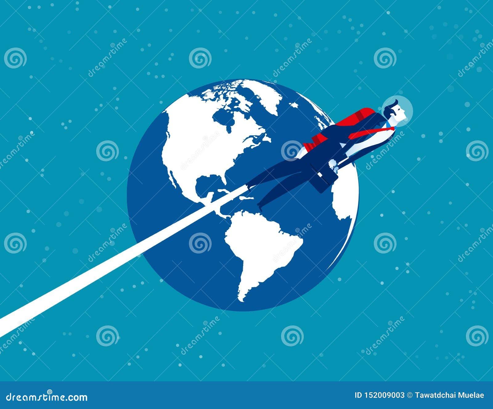 Astronautenzakenman over de aarde Concepten bedrijfstechnologie vectorillustratie Het vlakke ontwerp van de beeldverhaaltekenstij