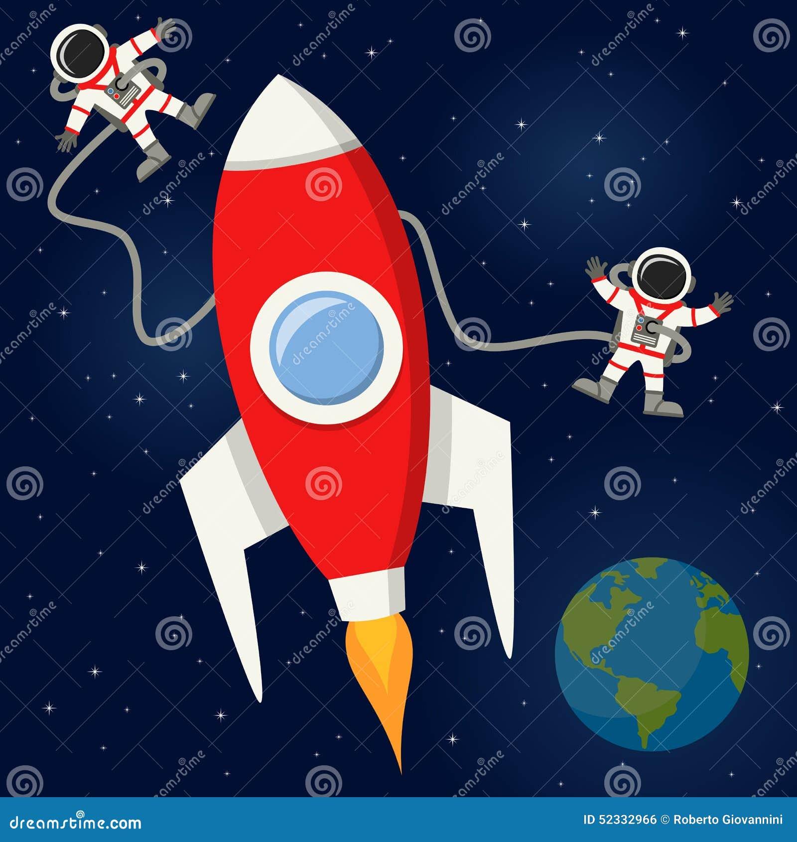 Astronautes et Rocket dans l espace extra-atmosphérique