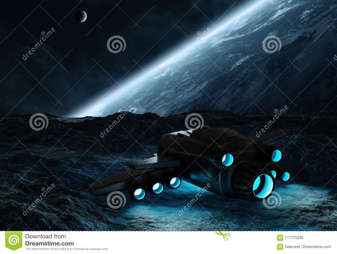 Astronauts exploring an asteroid 3D rendering elements of this i