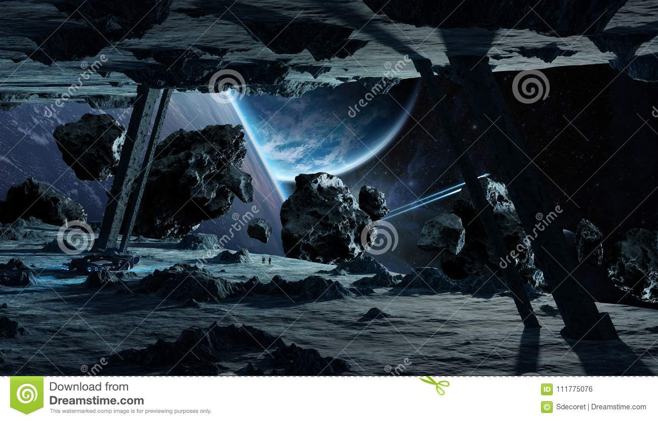 Astronauts exploring an asteroid spaceship 3D rendering elements