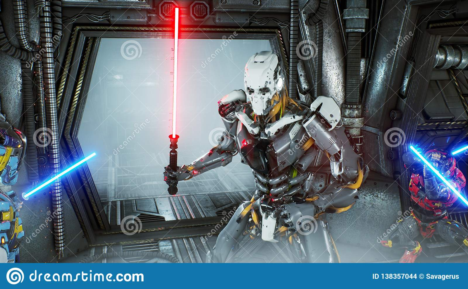 Astronauts with laser swords hid in an ambush on an alien robot invader on his spaceship. Super realistic sci-fi concept