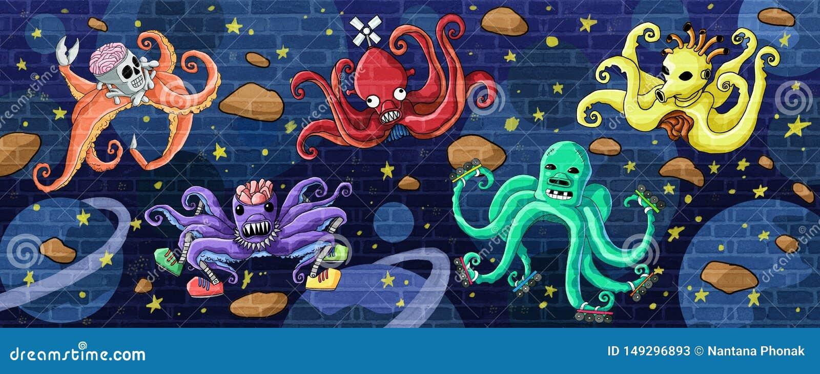 Astronautyczna kałamarnicy i kosmos ściany farba