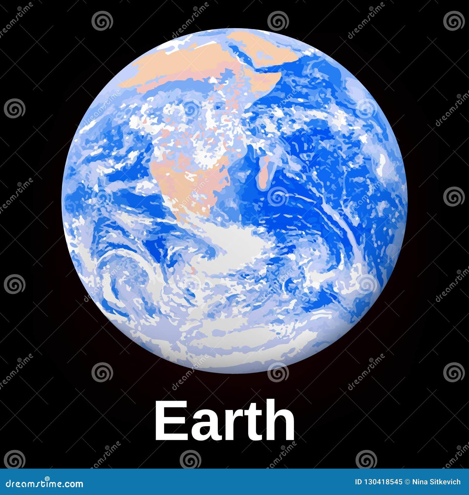Astronautyczna ziemska planety ikona, realistyczny styl