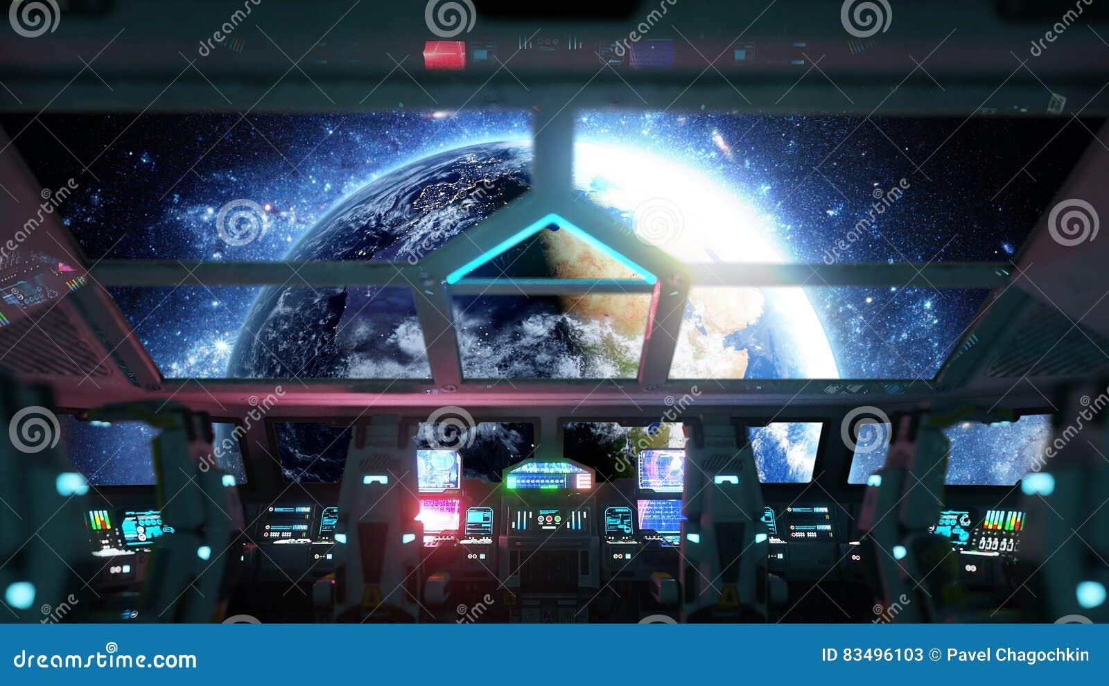 Astronautycznego statku futurystyczny wnętrze Cabine widok Galaktyczny podróży pojęcie świadczenia 3 d