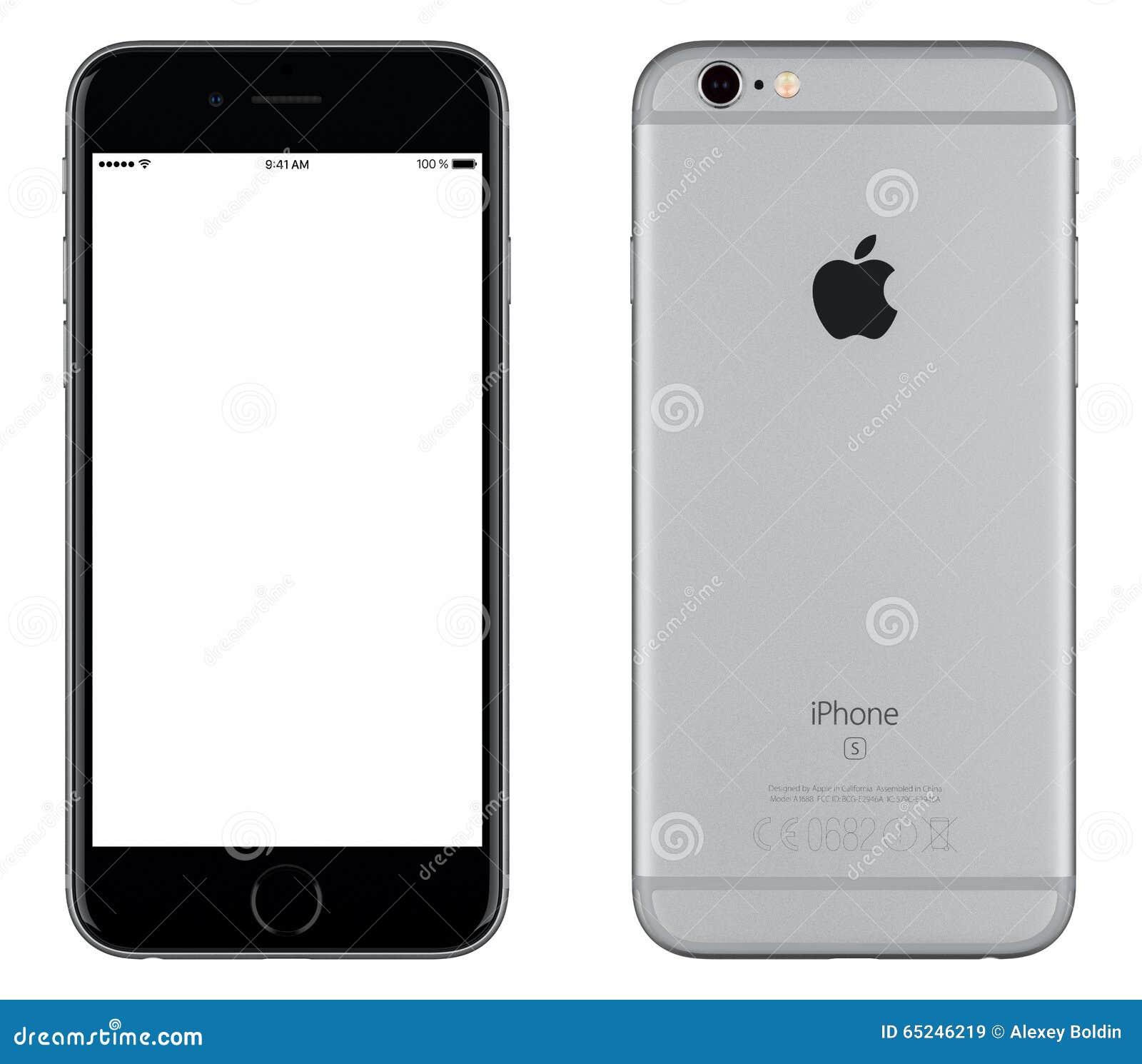 Astronautycznego Szarego Jabłczanego iPhone 6s mockup frontowy widok i tylna strona