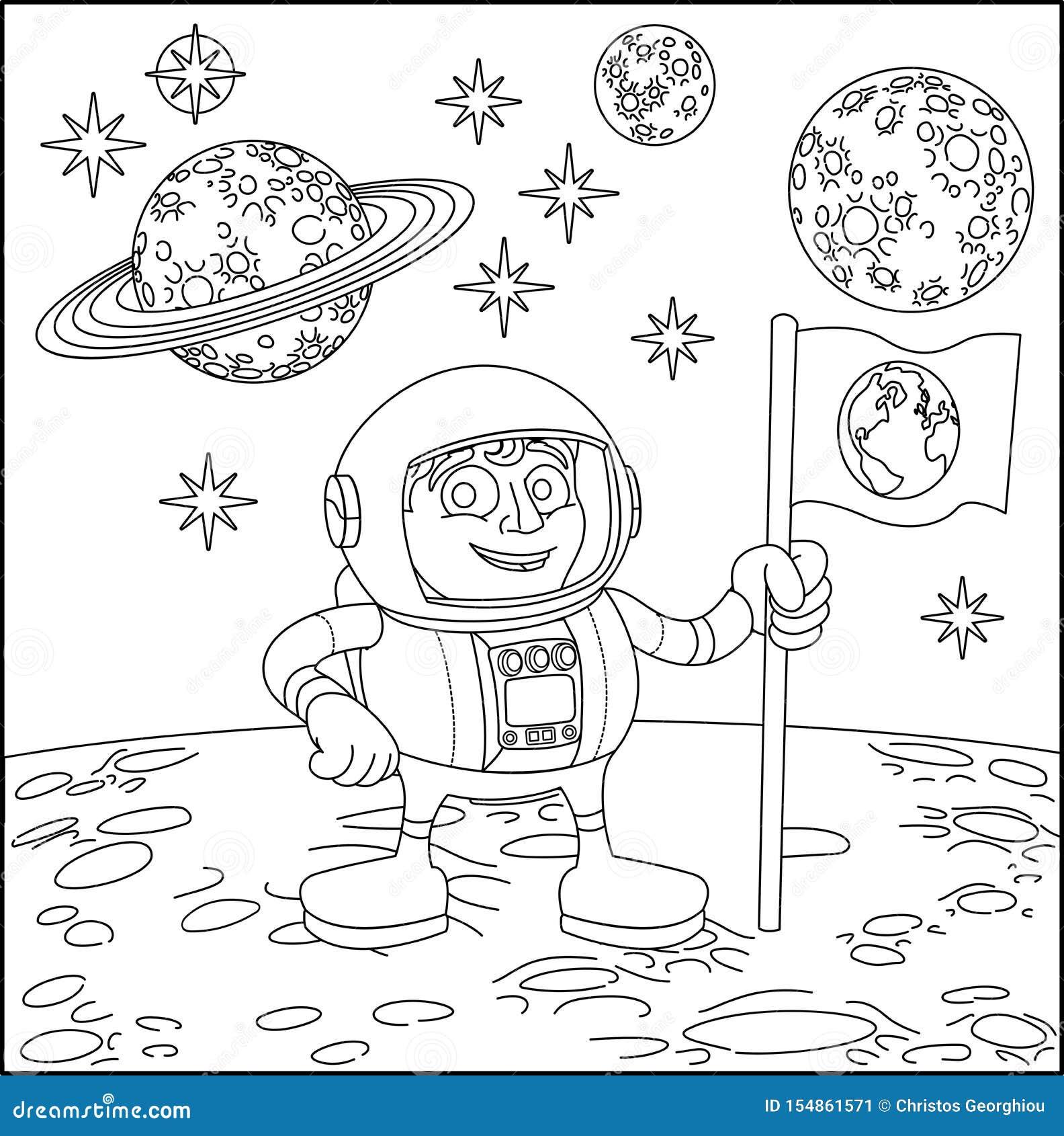 Astronautyczny kreskówki sceny astronauta Na księżyc