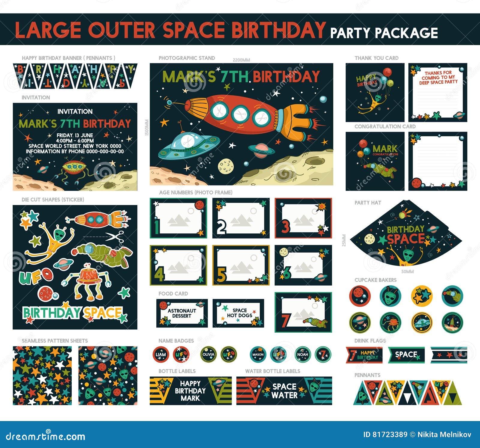Astronautyczny Przyjęcie Urodzinowe Ilustracja Wektor Ilustracja