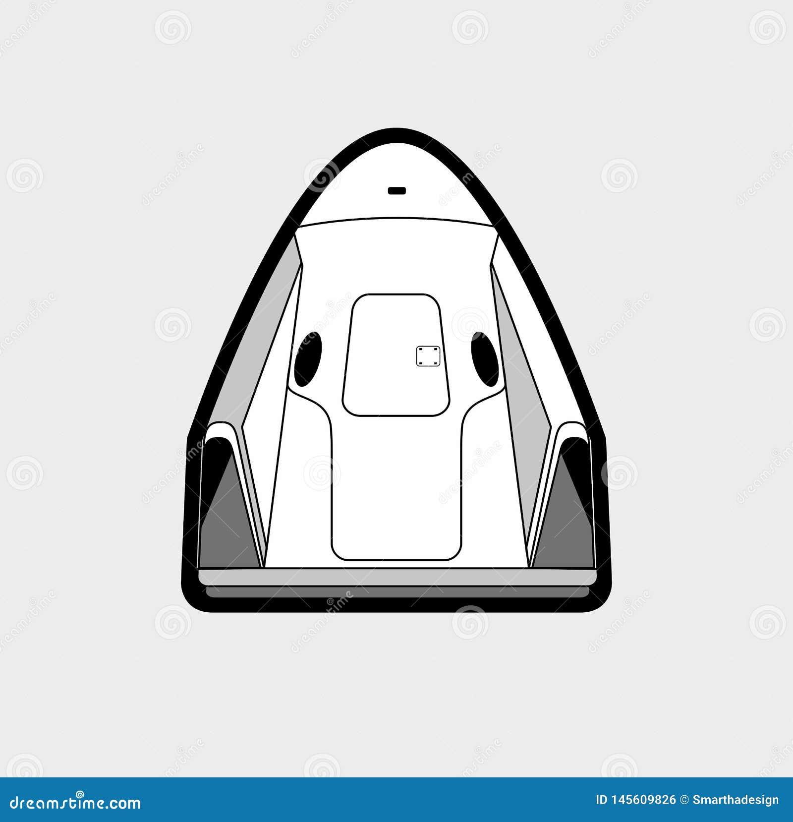 Astronautyczny rzemios?o, rakietowy wodowanie 2019 Wektoru odosobniony statek kosmiczny Futurystyczna sztuka, rakietowa wszczyna