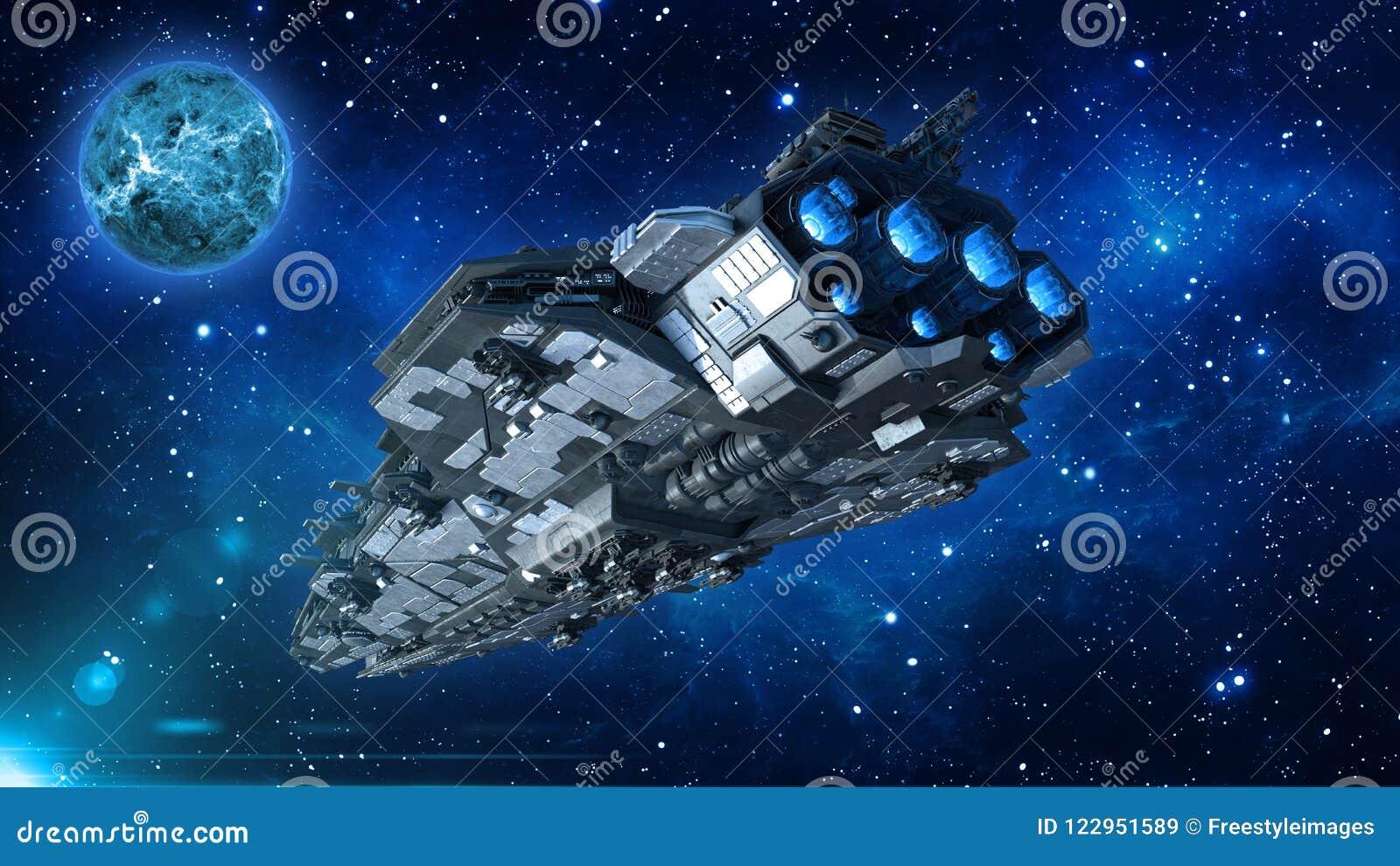 Astronave straniera in universo, volo del veicolo spaziale nello spazio profondo con il pianeta e stelle nei precedenti, vista da