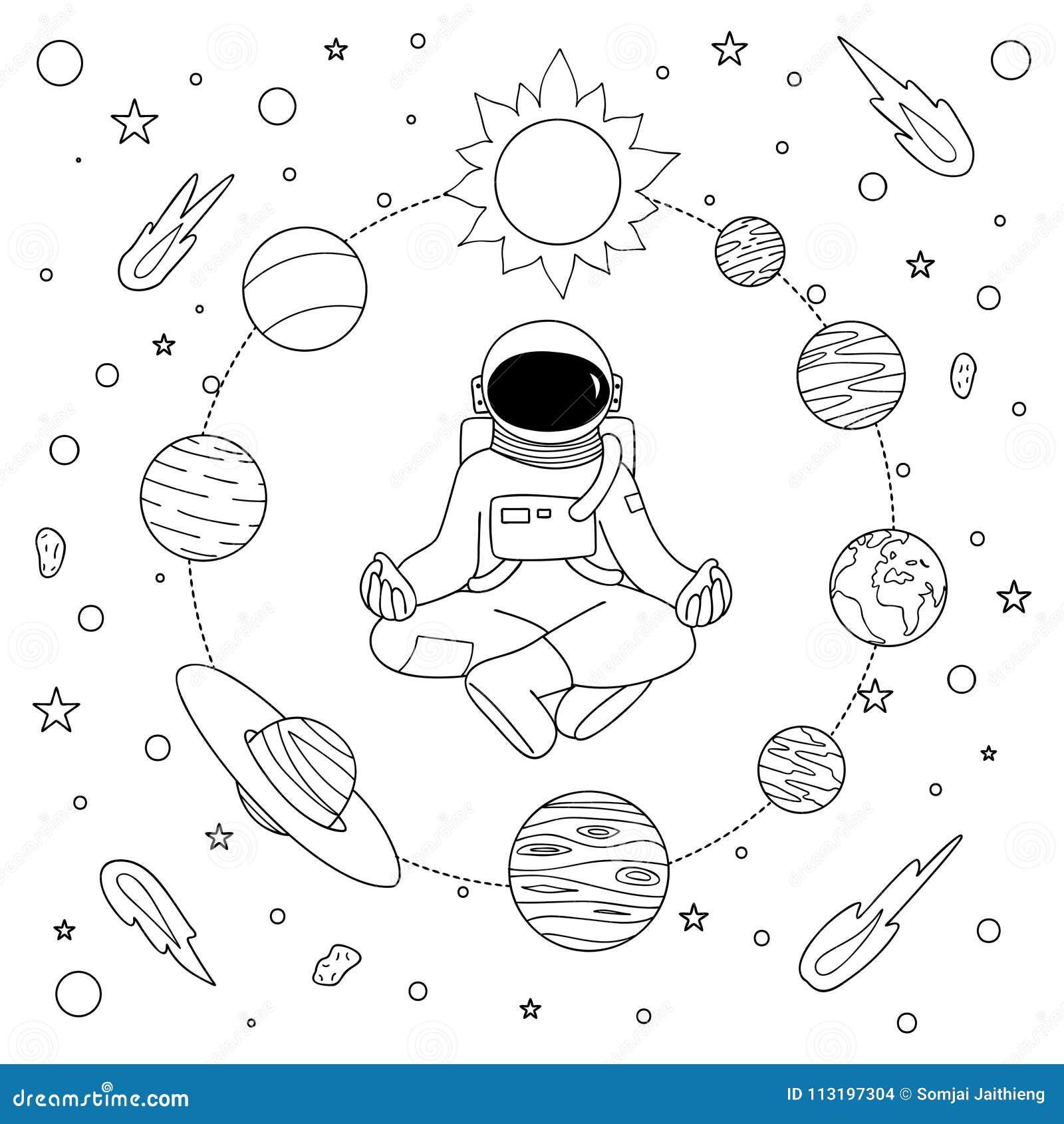 Astronoaut Tirado Mao Que Faz A Meditacao Ilustracao Do Vetor