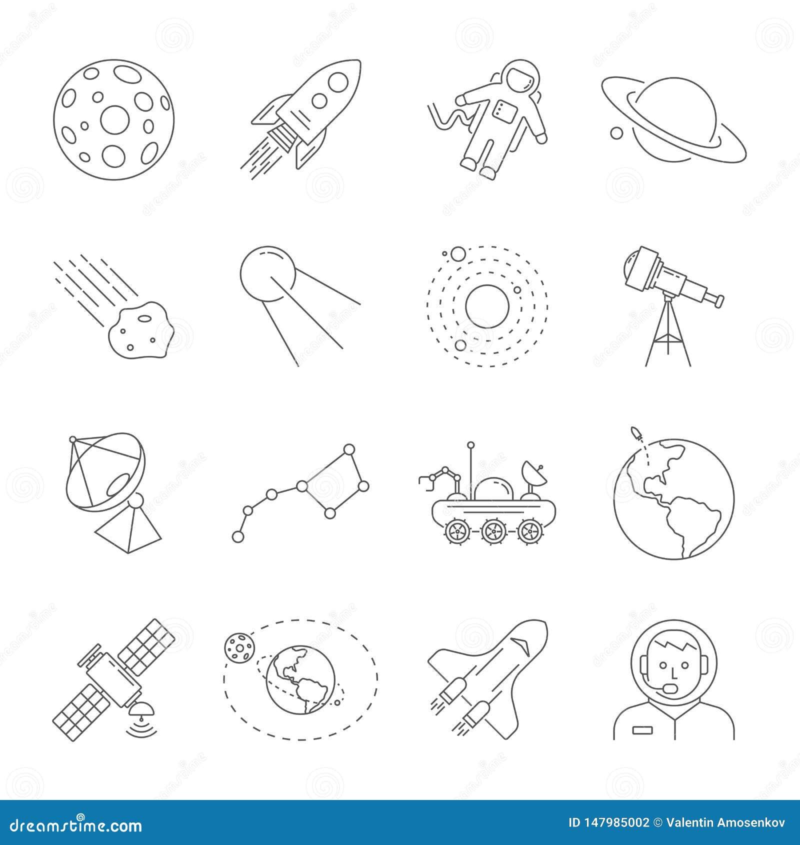 Astronomie en Ruimtesymboleninzameling Dunne lijnpictogrammen van het ruimtethema Bevat dergelijke pictogrammen zoals Maan, Satur