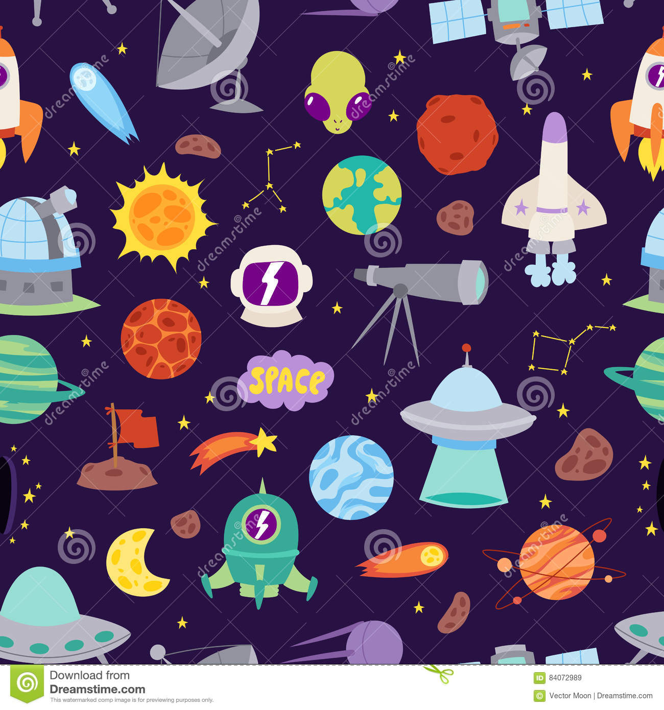 Astronomy Space Vector Seamless Pattern  Stock Vector