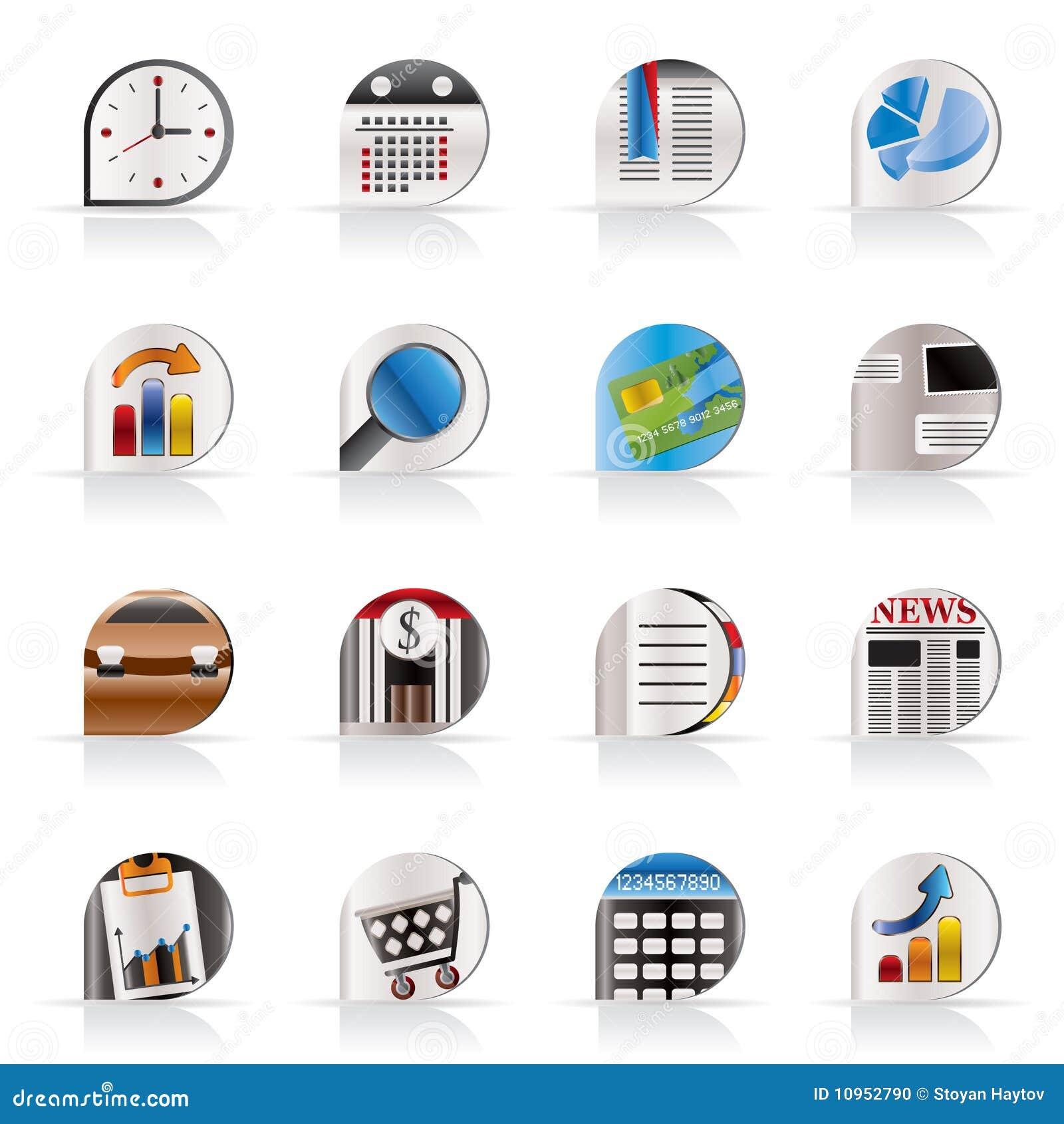 Asunto e iconos realistas del internet de la oficina ilustraci n del vector ilustraci n de - Verti es oficina internet ...