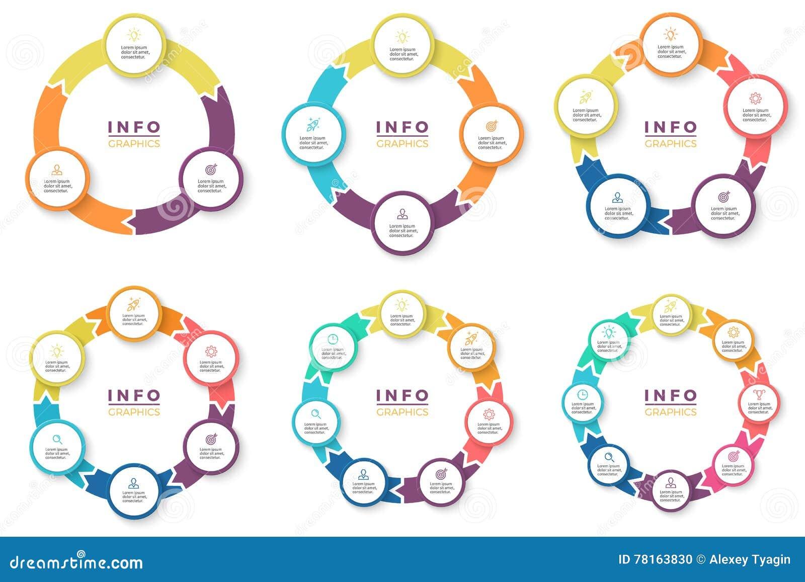Asunto Infographics Flechas circulares con 3 - 8 porciones