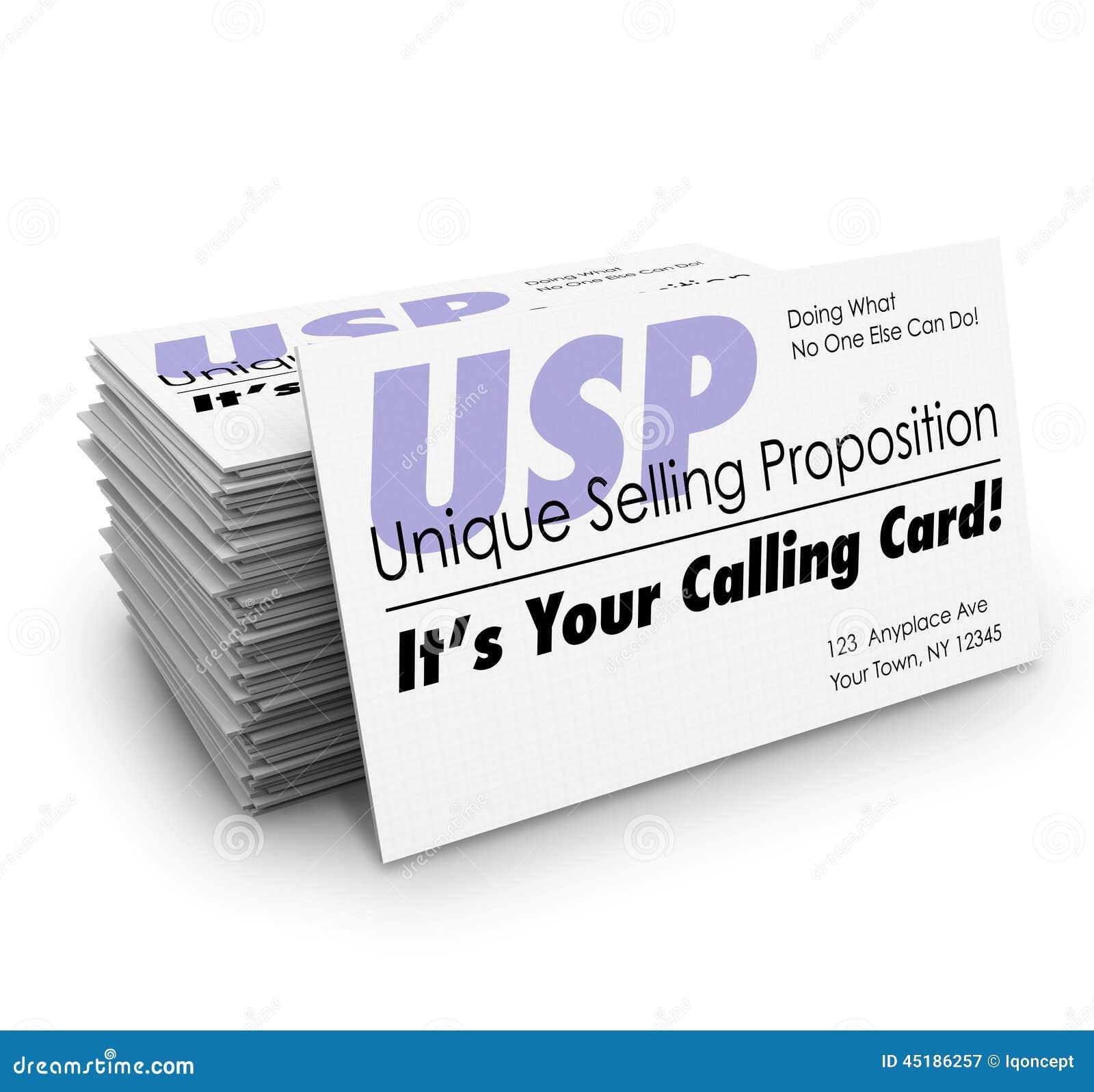 Asunto vendedor único de USP su pila de llamada de la tarjeta de visita