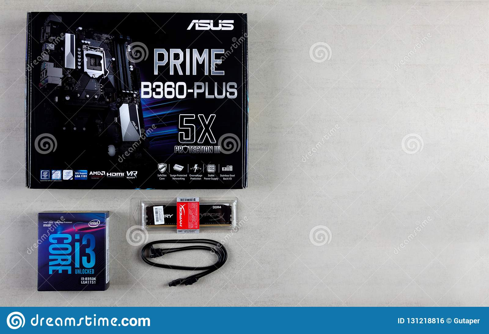 Asus motherboard in box, processor intel I3, RAM Kingston Fury Hyper 16 GB and cable for connecting devices SATA 6Gbs on a gray ba
