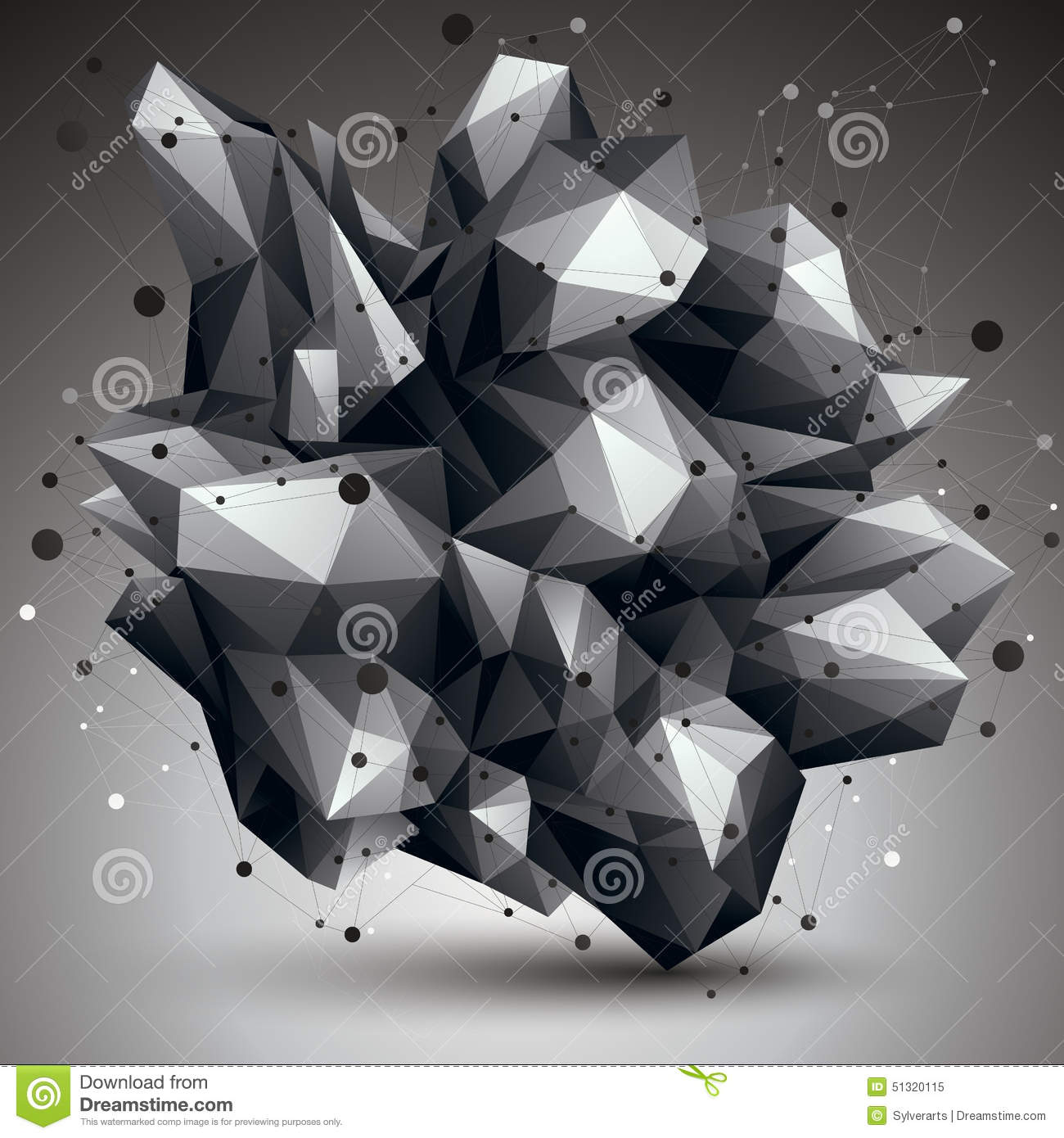 abstract asymmetric vector monochrome object with black lines me vector illustration