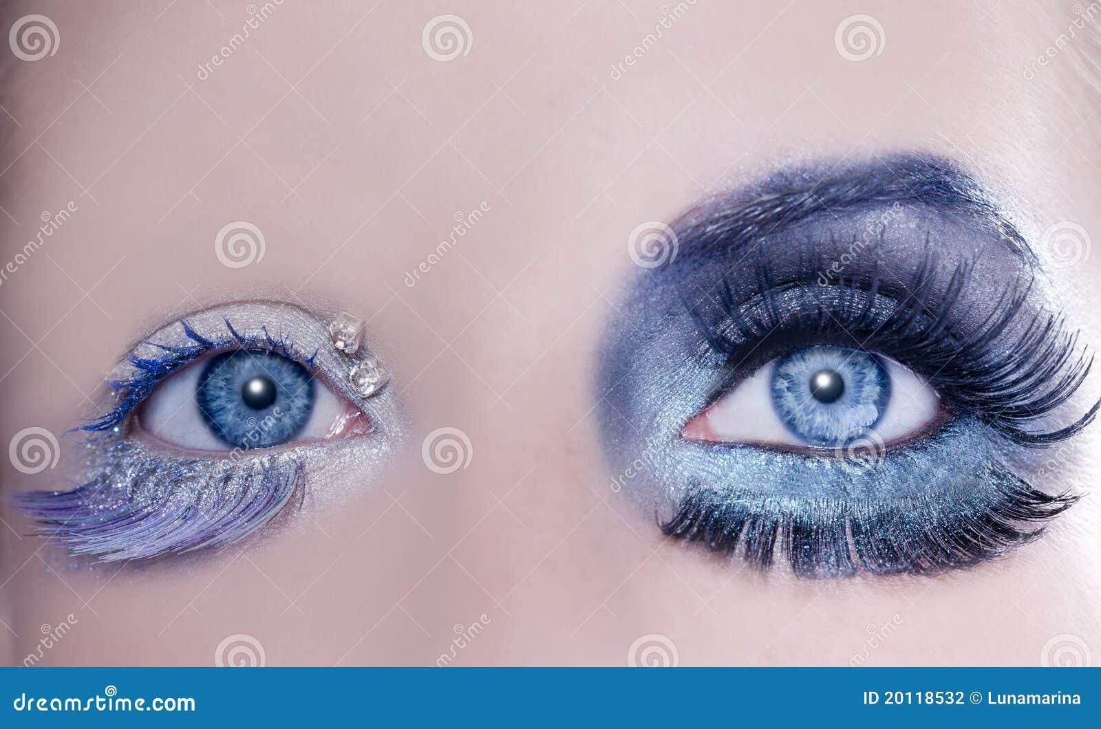 Asymmetrical Blue Eyes Makeup Macro Closeup Silver Stock Photo