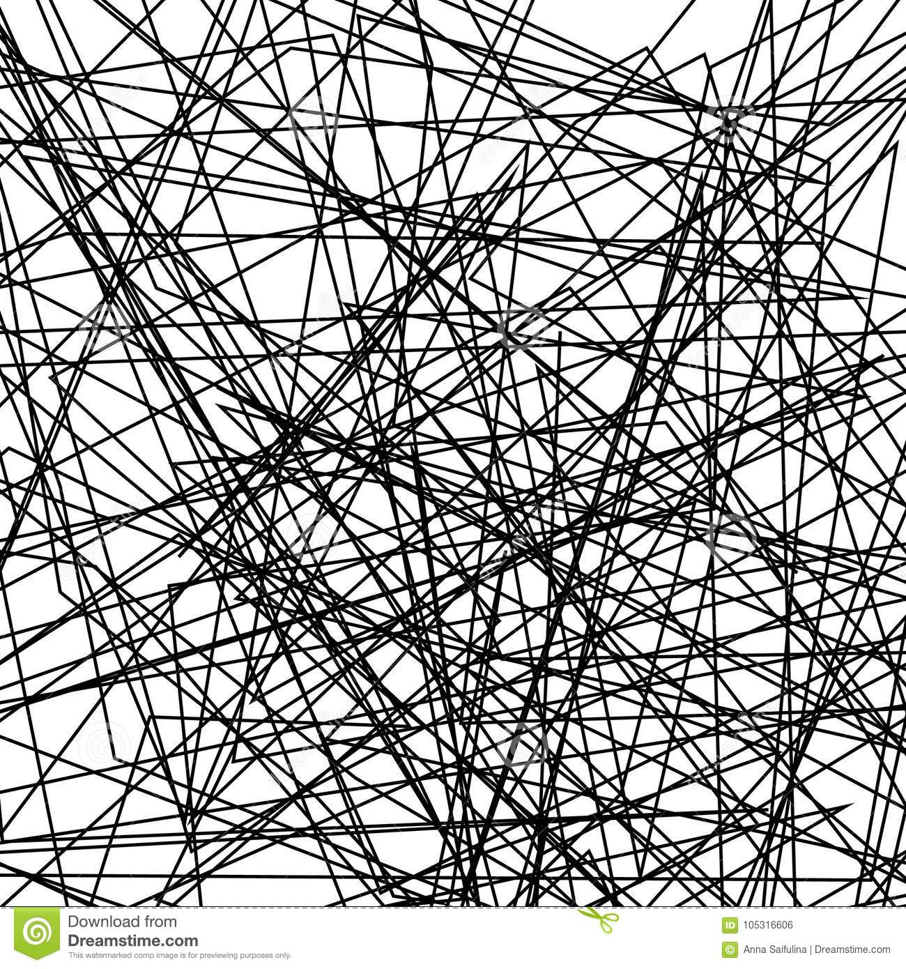 asymmetrical texture with random chaotic lines  abstract geometric pattern  black and white