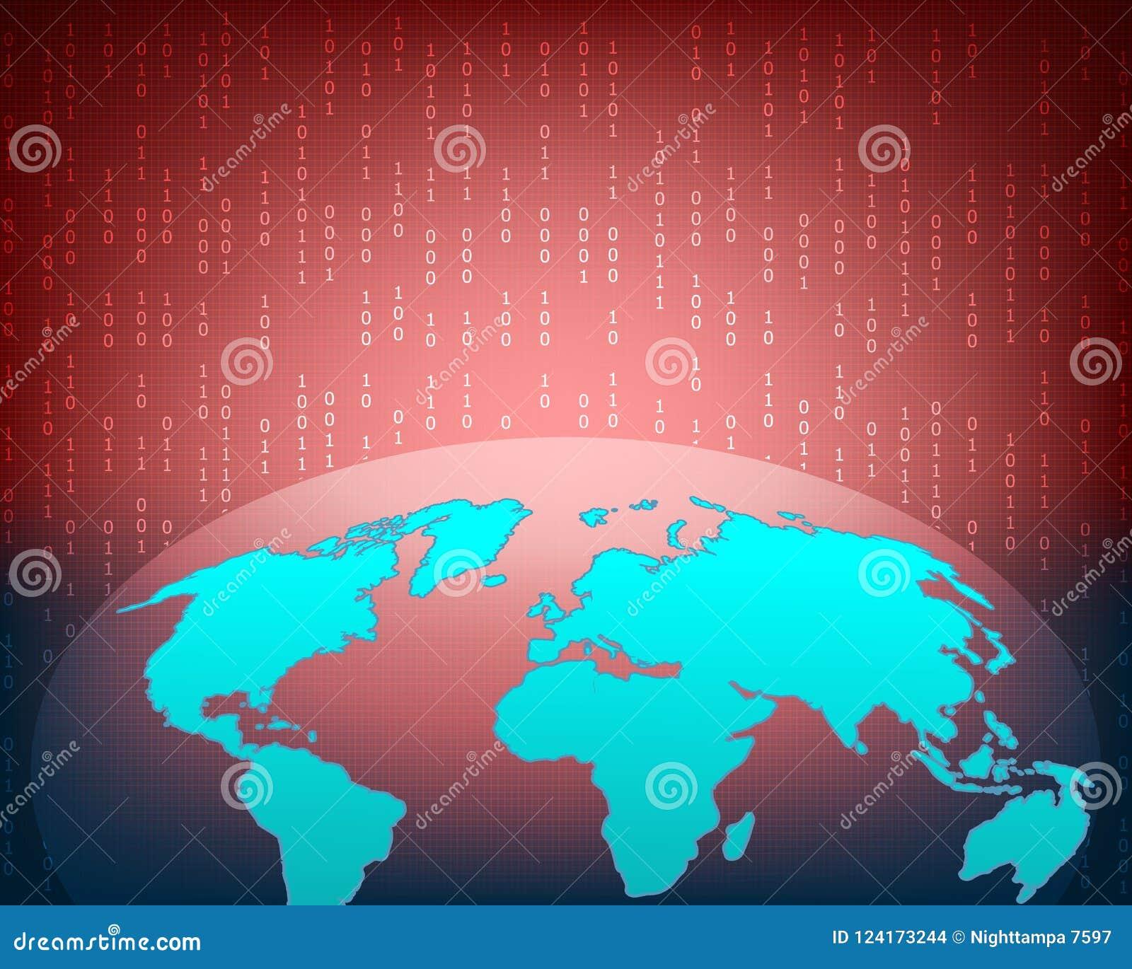 Ataque do Cyber do mapa do mundo pelo fundo do conceito do hacker com binário
