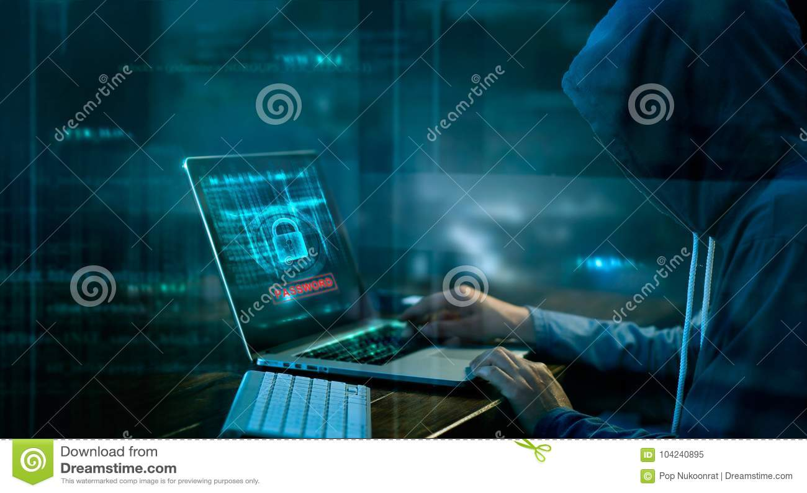 Ataque do Cyber ou crime de computador que corta a senha