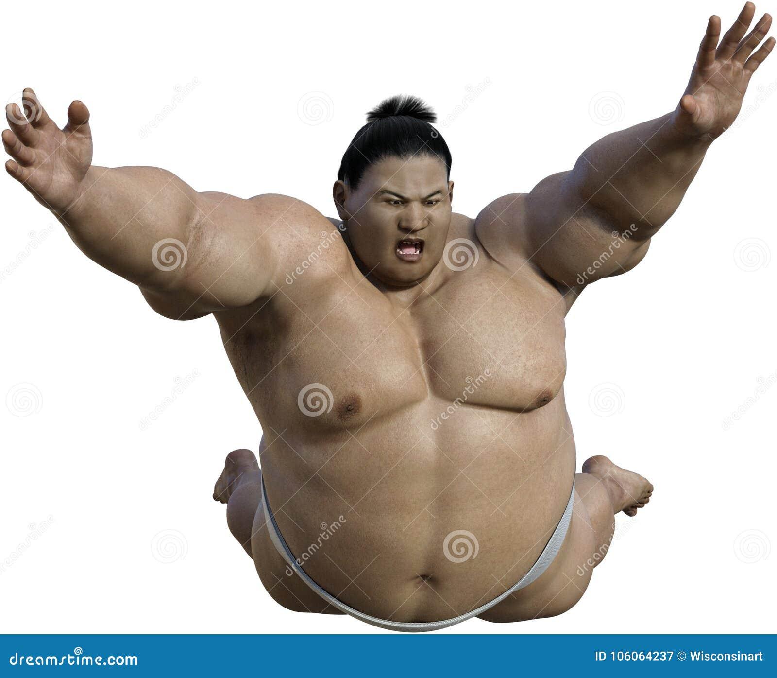 Ataque japonés del luchador del sumo, aislado, Japón