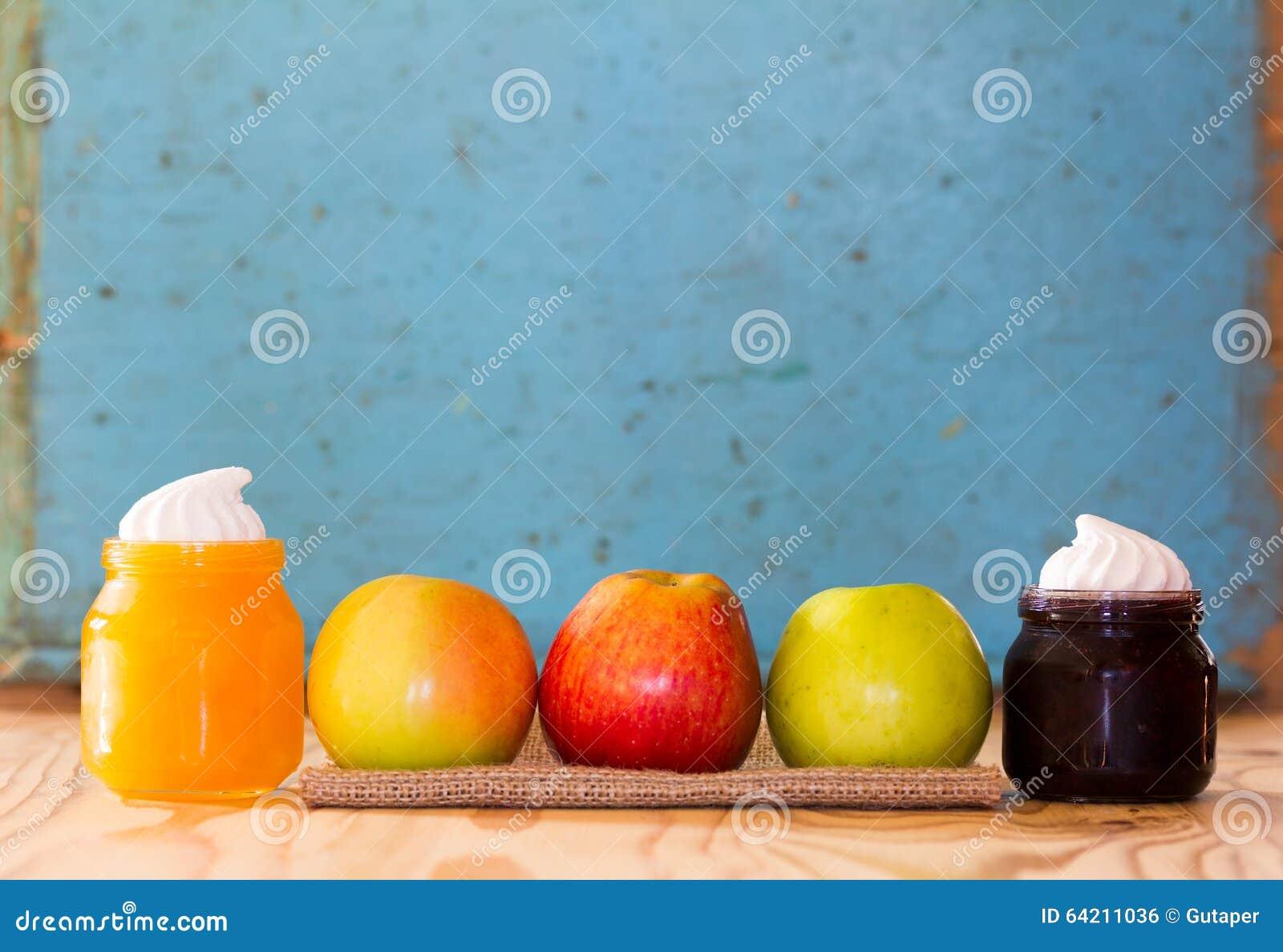 Atasco de las manzanas, de la miel y del arándano