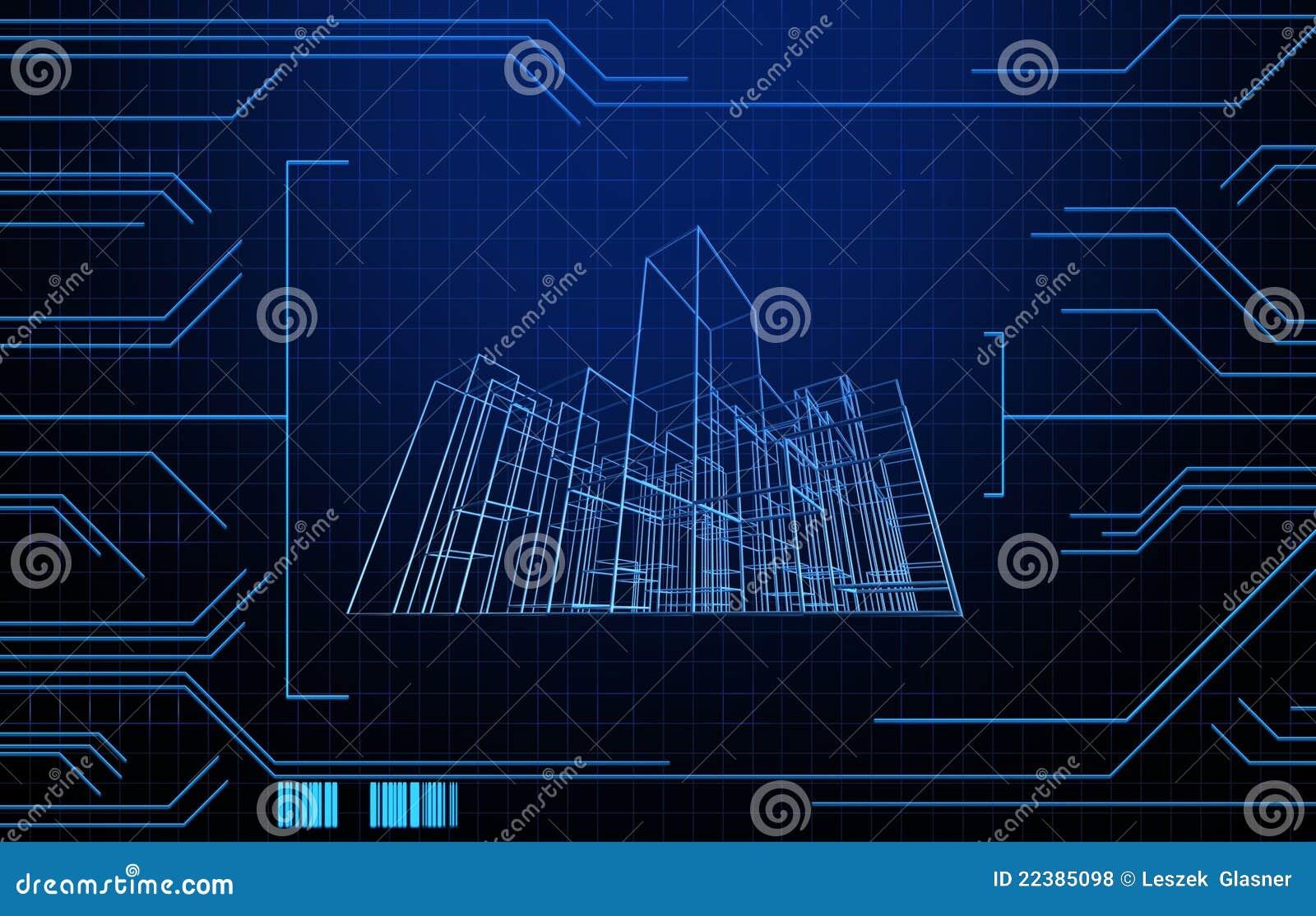 Ate con alambre el edificio de marco en fondo de la tecnología