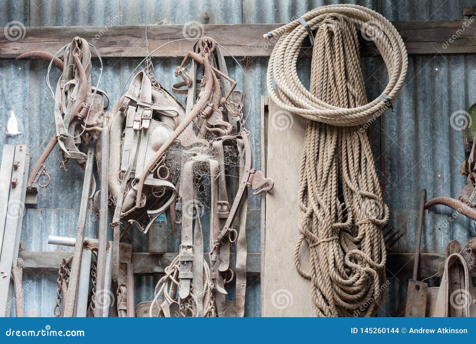 Atelier avec l affichage de l équipement, des cordes et des outils de ferme de la poussière accrochés contre un mur de fer ond