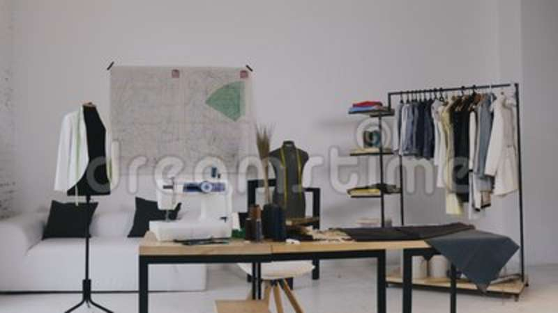 Atelier Fashion Design Studio A Stylish Studio For Sewing Clothes Which Has It Sewing Machine Coil Threads Various Stock Video Video Of Dressmaking Mannequin 121970177