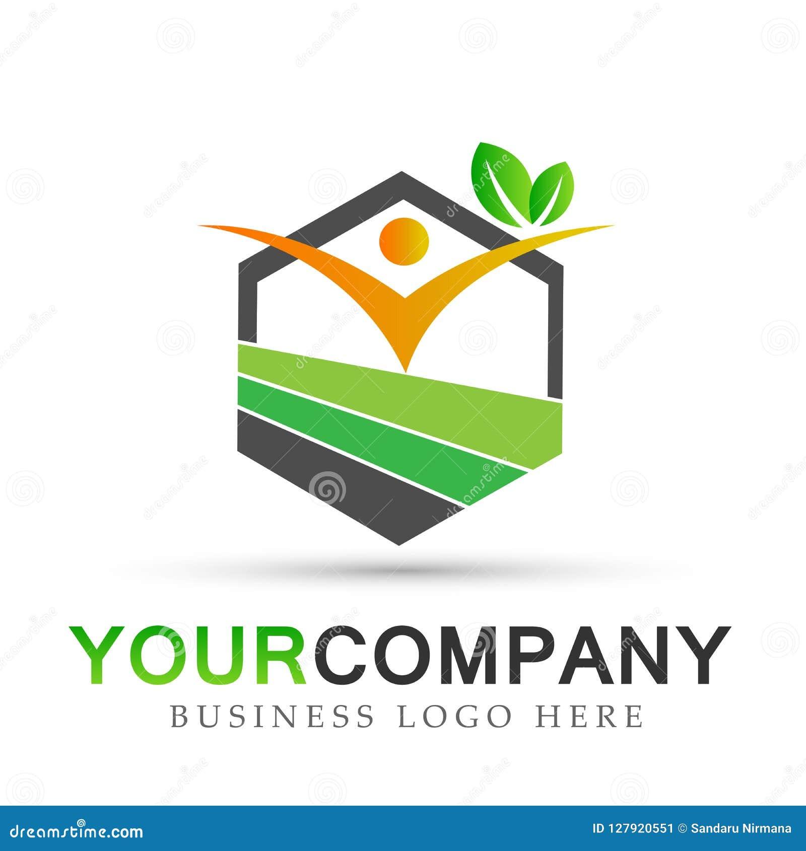 Atención sanitaria de las propiedades inmobiliarias de la naturaleza de la gente, diseño del logotipo del símbolo de los iconos d