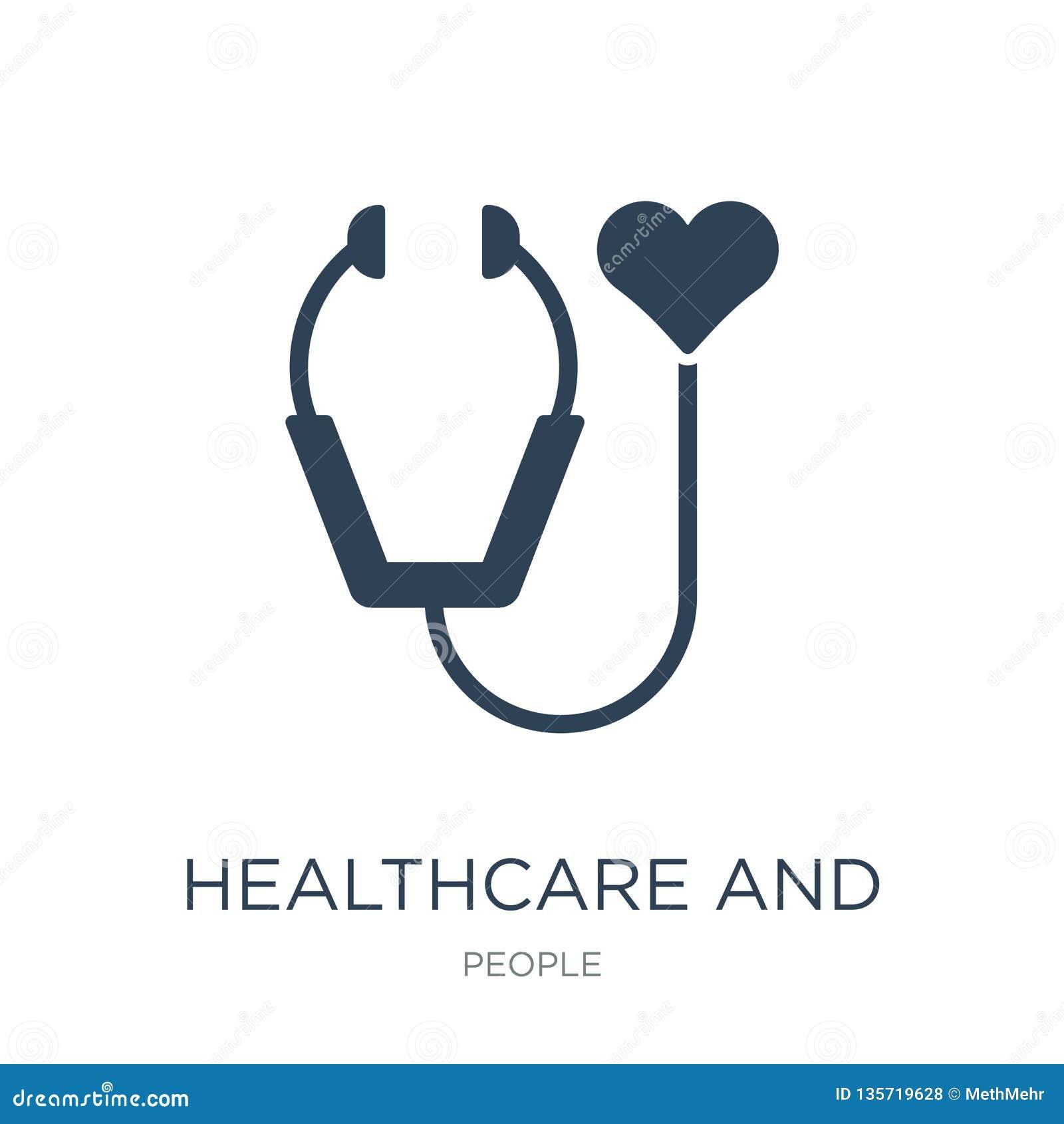 Atención sanitaria e icono médico en estilo de moda del diseño atención sanitaria e icono médico aislados en el fondo blanco aten