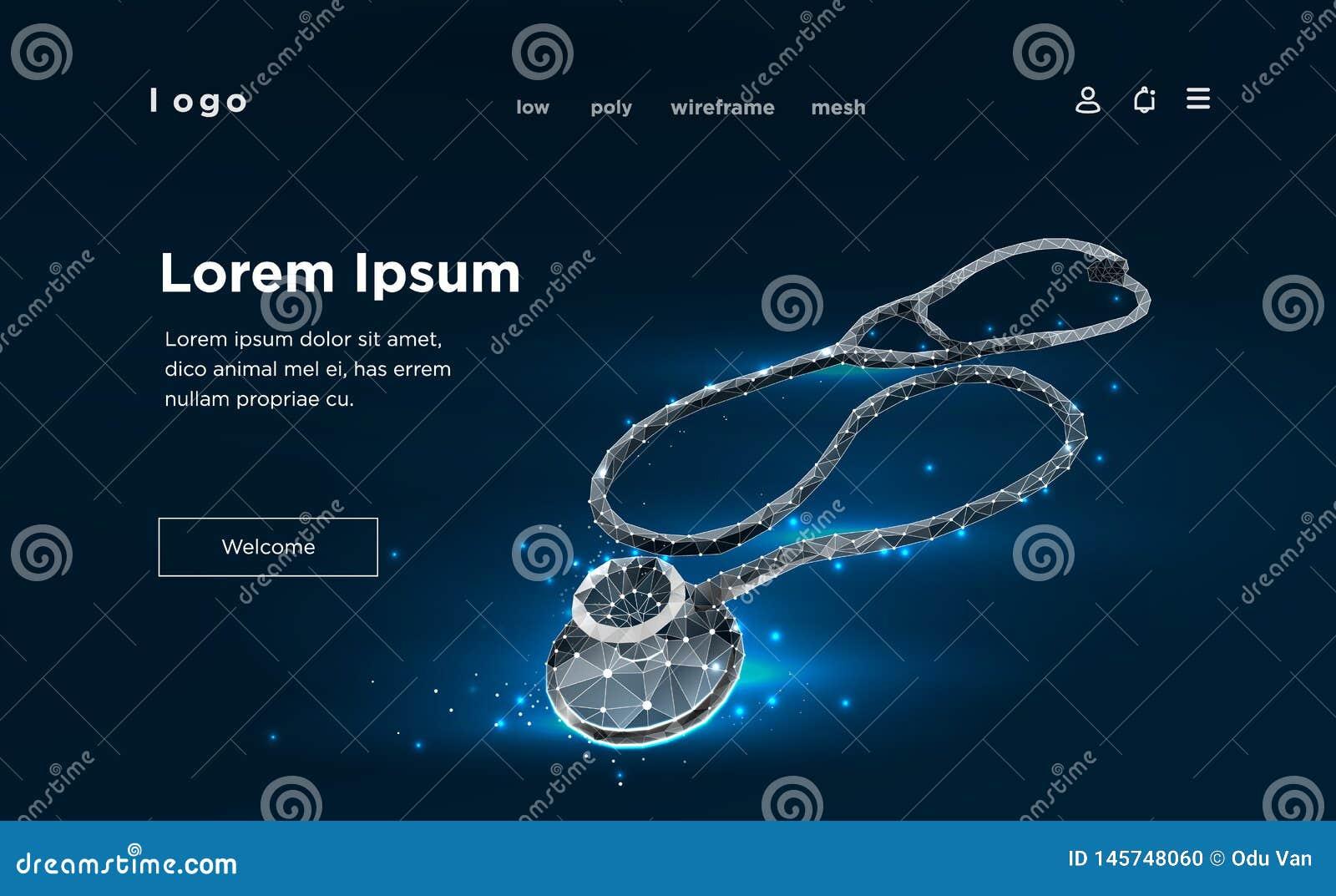 Atención sanitaria polivinílica baja del estetoscopio de la medicina Wireframe polivinílico bajo del modelo 3D de la ciencia médi