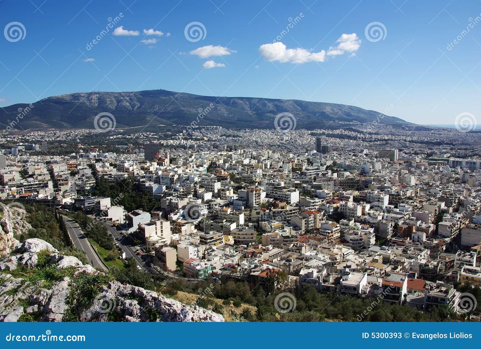 Download Atene da sopra immagine stock. Immagine di città, europa - 5300393