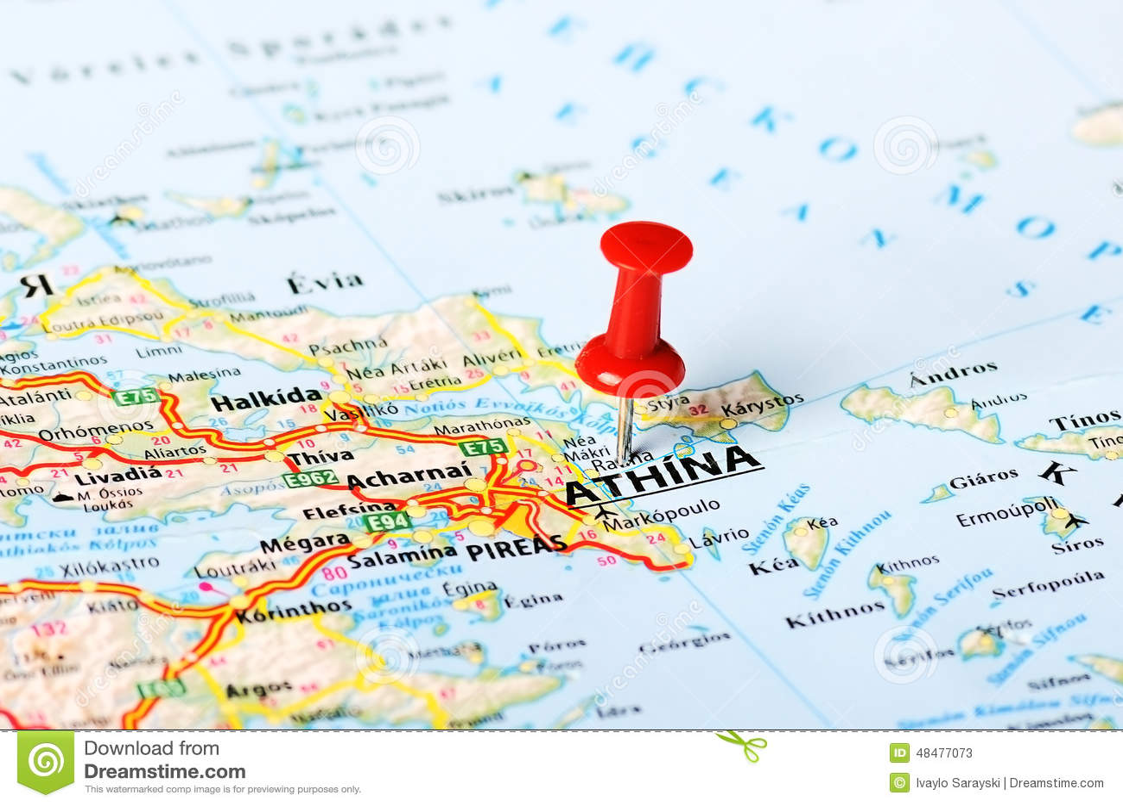 Ateny Grecja Mapa Obraz Stock Obraz Zlozonej Z Thumbtack 48477073