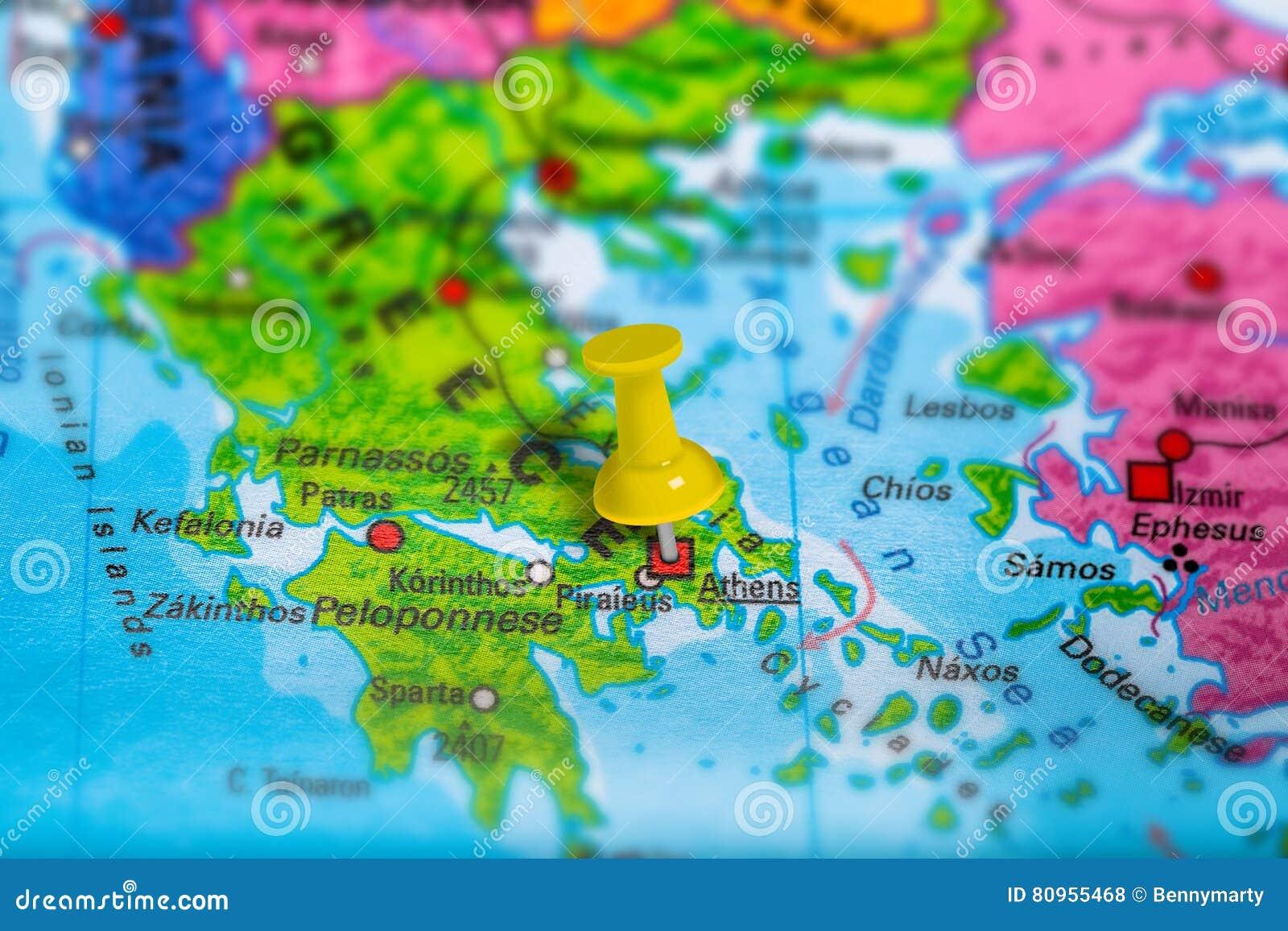Ateny Grecja Mapa Zdjecie Stock Obraz Zlozonej Z Geopolityka