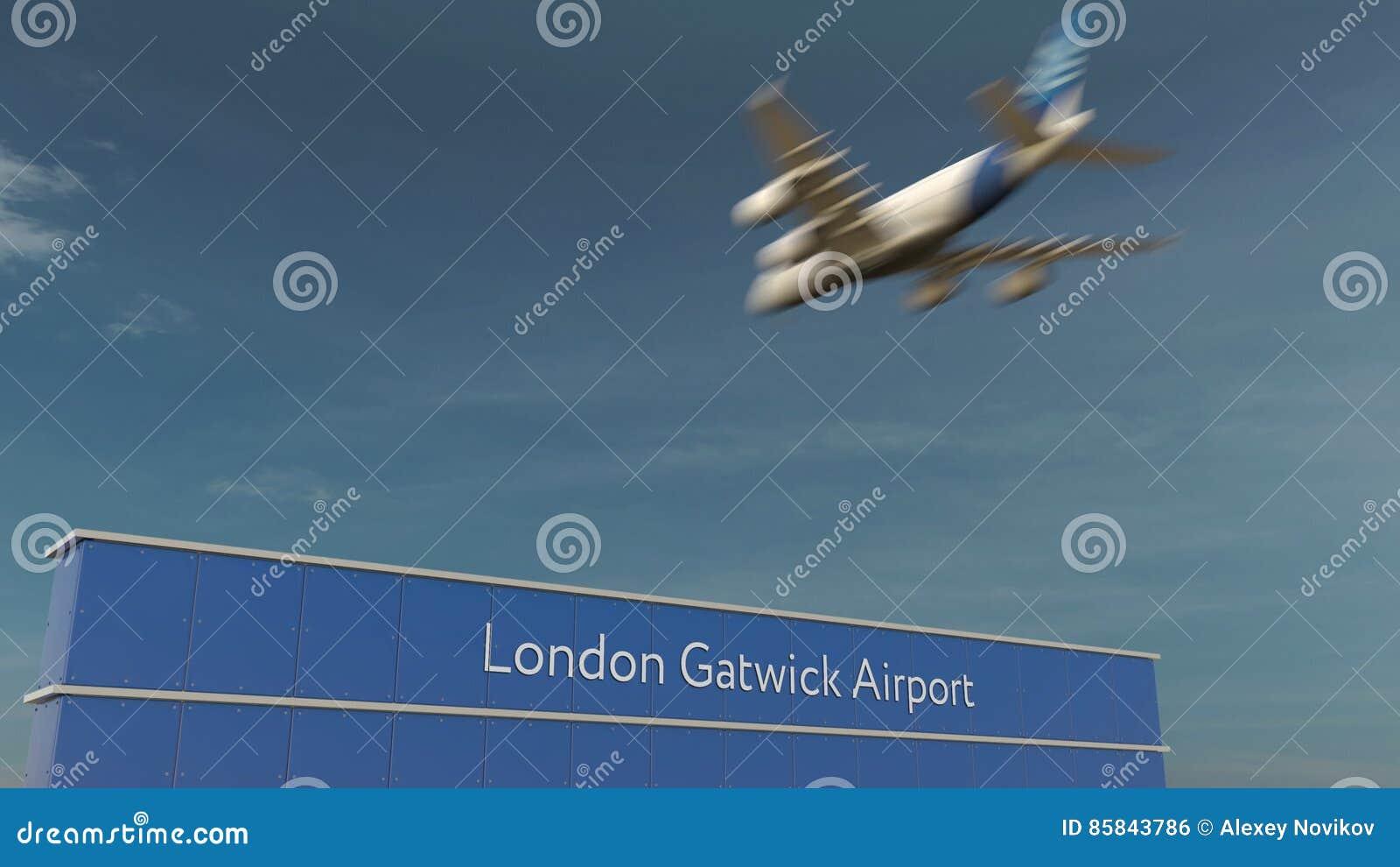Aterrizaje de aeroplano comercial en la representación del aeropuerto de Londres Gatwick 3D