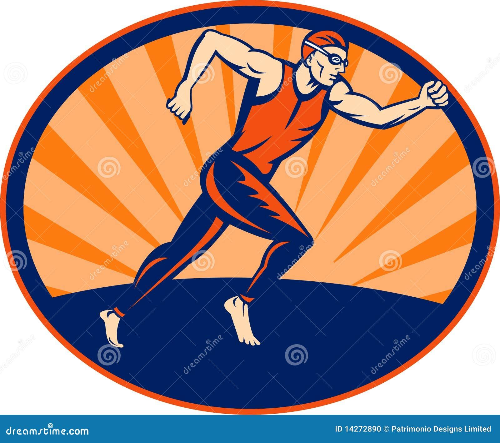 Athelte δρομέας που τρέχει triathlon