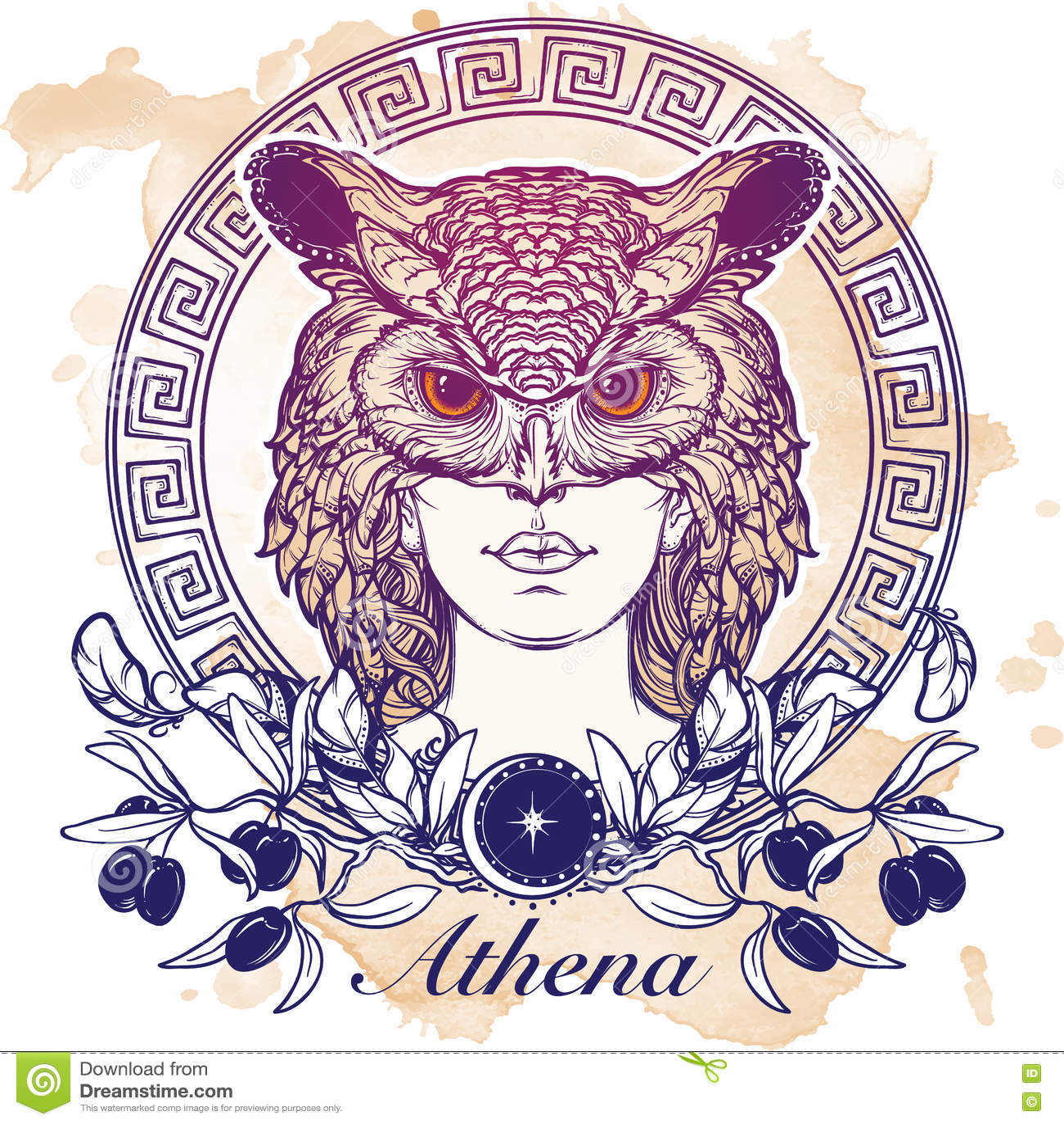 Athena Sketch Isolated On Grunge Background Stock