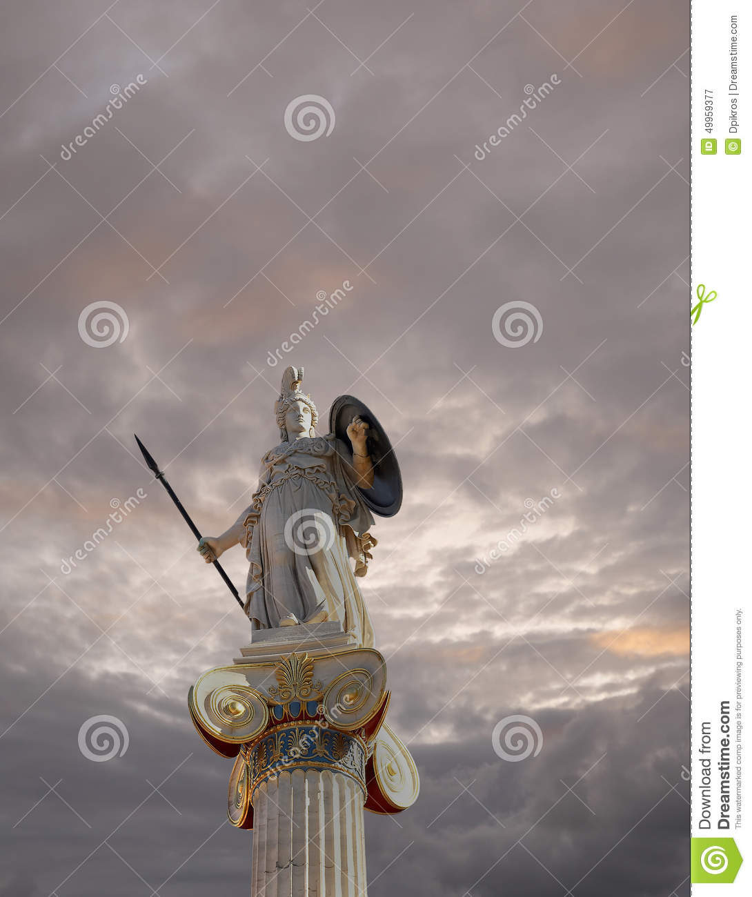 Athena statue, the goddess of wisdom and philosophy