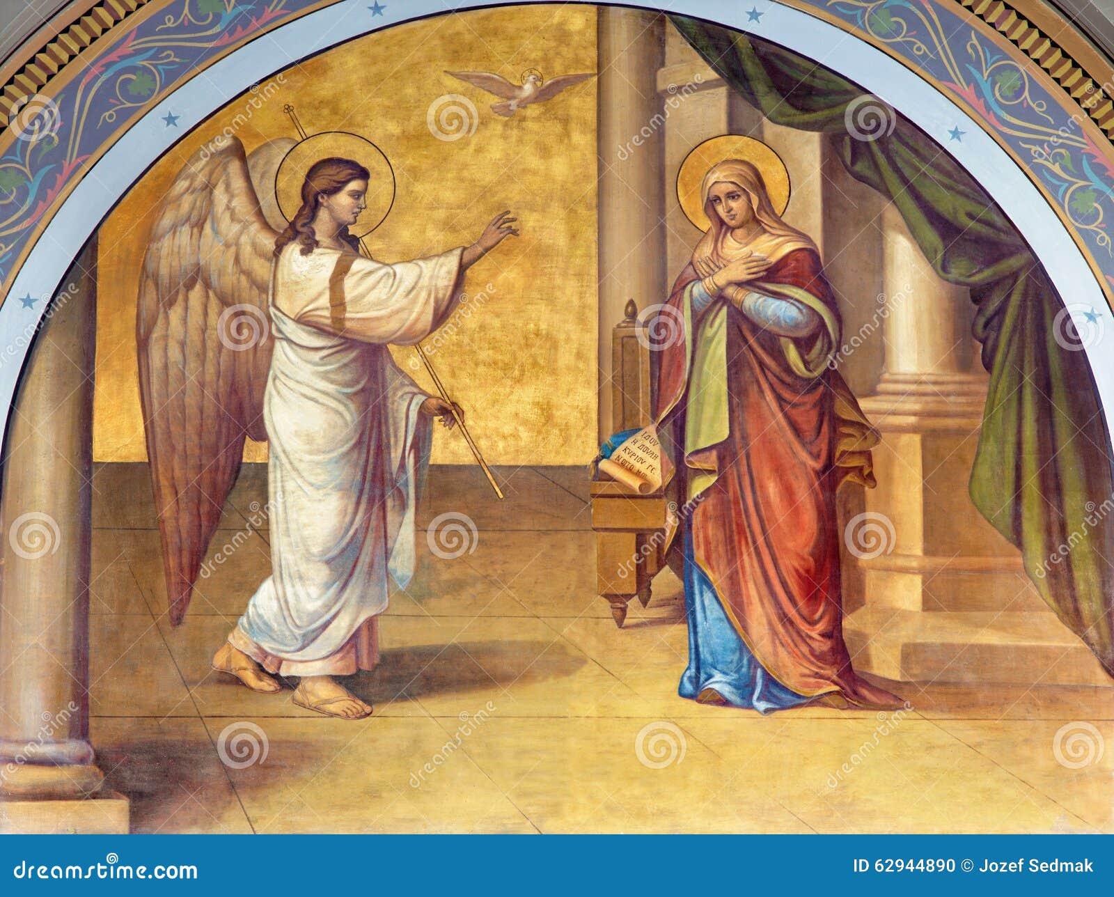 Athene - de fresko van Aankondiging op de voorgevel van Metropolitaanse Cathedaral door B Antoniasis (1895)