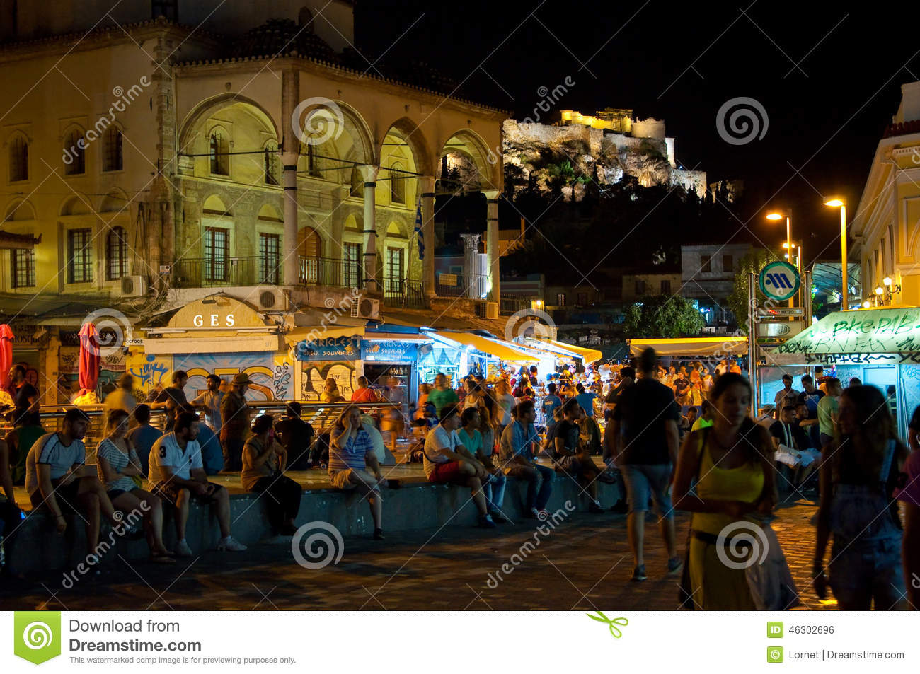 ATHENS-AUGUST 22: Nightlife on Monastiraki Square on August 22, 2014 in Athens, Greece.