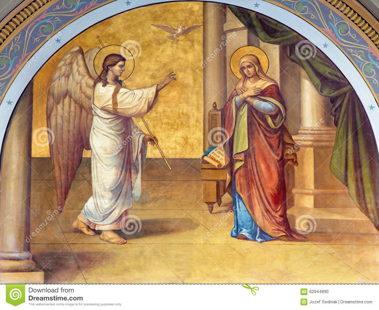 Athens - The fresco of Annunciation on the facade of Metropolitan Cathedaral by B. Antoniasis (1895)