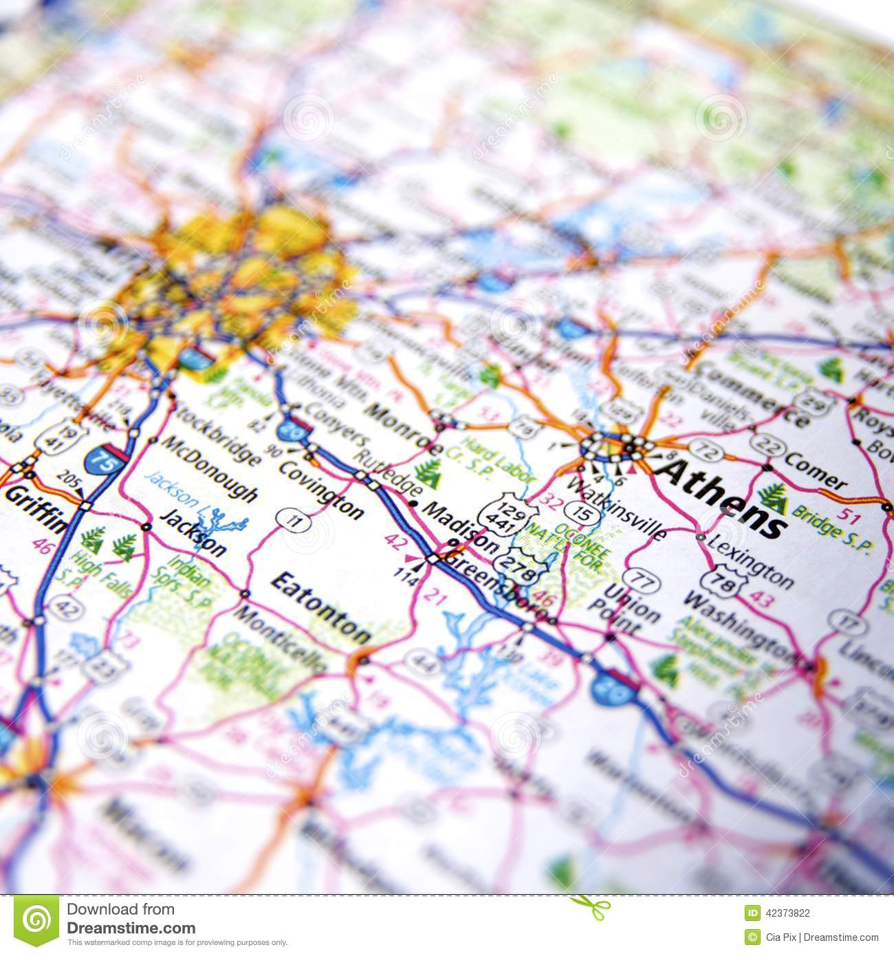 Georgia Map Of Cities And Counties.Athens Georgia Stock Photo Image Of American Highway 42373822