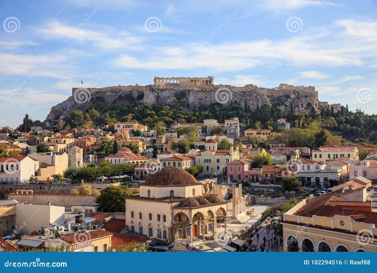 Athens, Greece. Acropolis rock and Monastiraki square