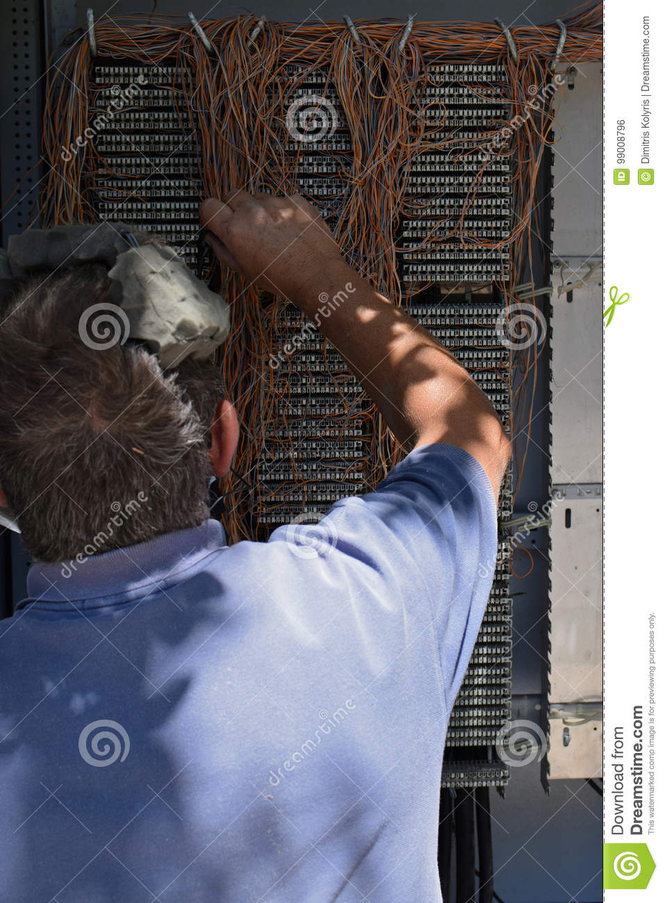 Engineer Telephone Wiring Box Editorial Photo Image Of Switchboard Phone Junction Athens Greece August 1 2017 Working On