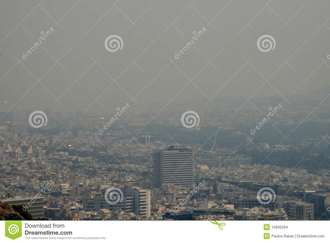 Athens Greece covered in Smoke